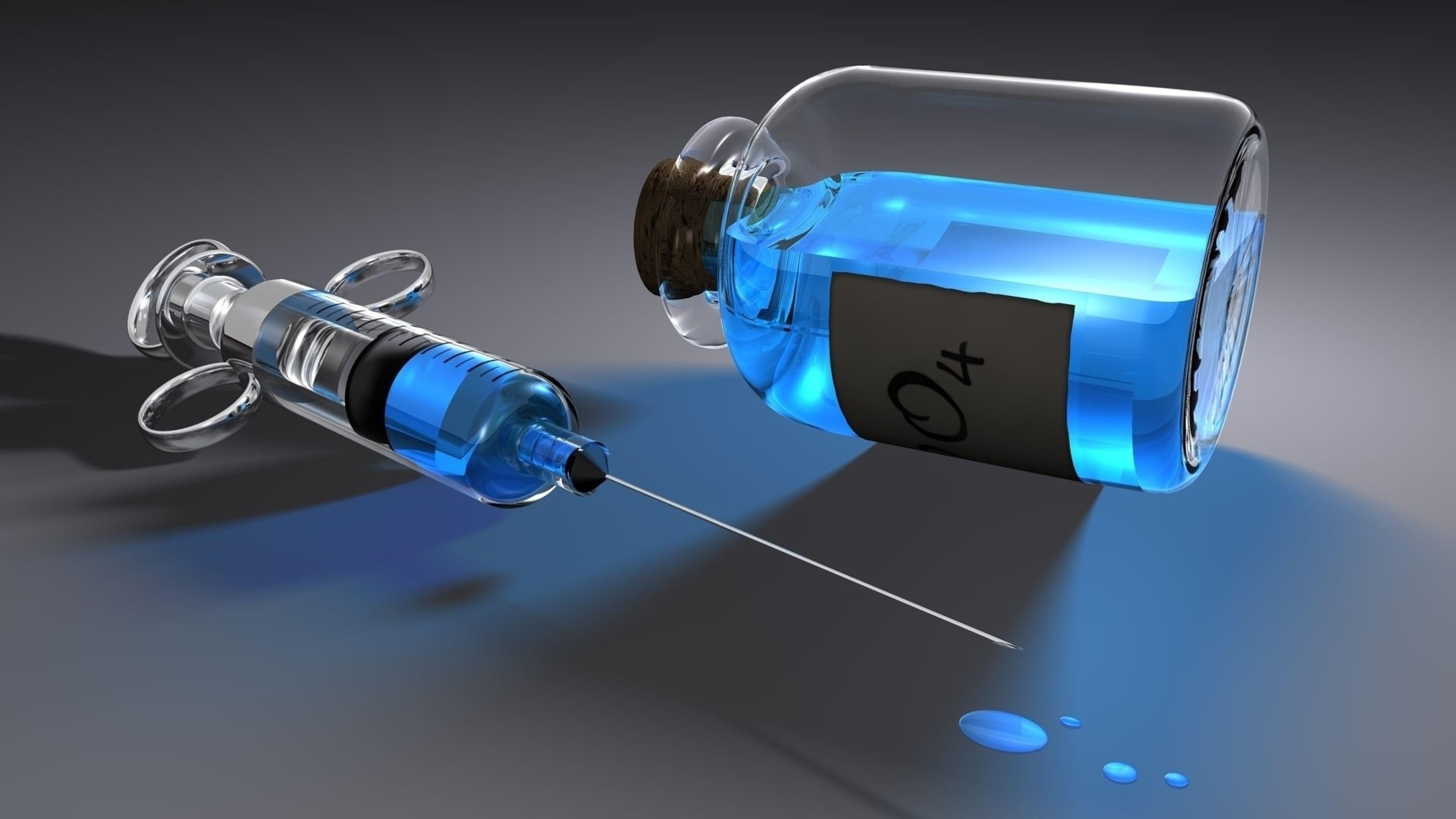 Preview wallpaper syringe, bulb, glass, liquid, chemistry 3840×2160