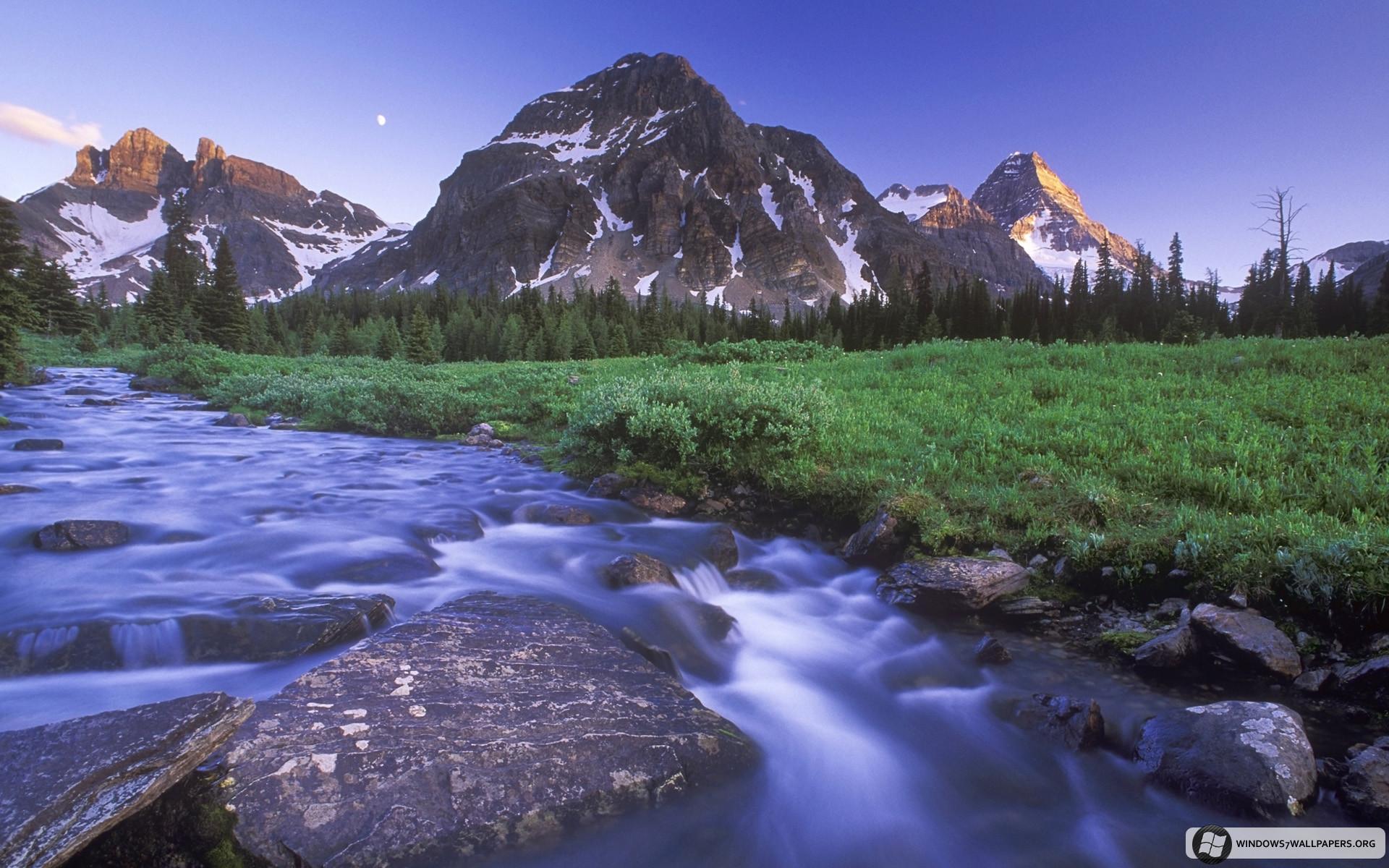 Magog Creek and Naiset Point, Mount Assiniboine Provincial Park/Anse Magog  et mont Naiset. Windows 7 Mountain