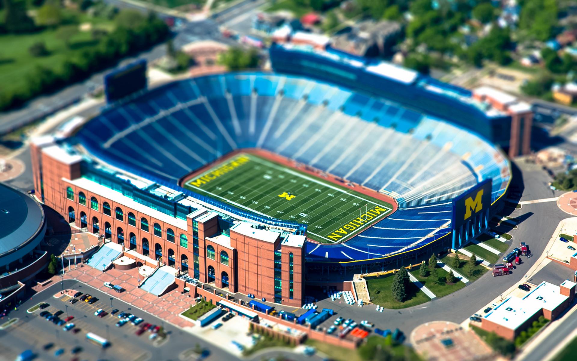 Michigan State University Stadium Tilt-Shift Football wallpaper .