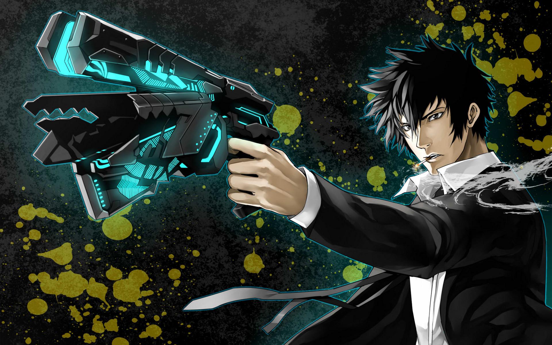Anime – Psycho-Pass Shinya Kogami Anime Gun Smoking Wallpaper