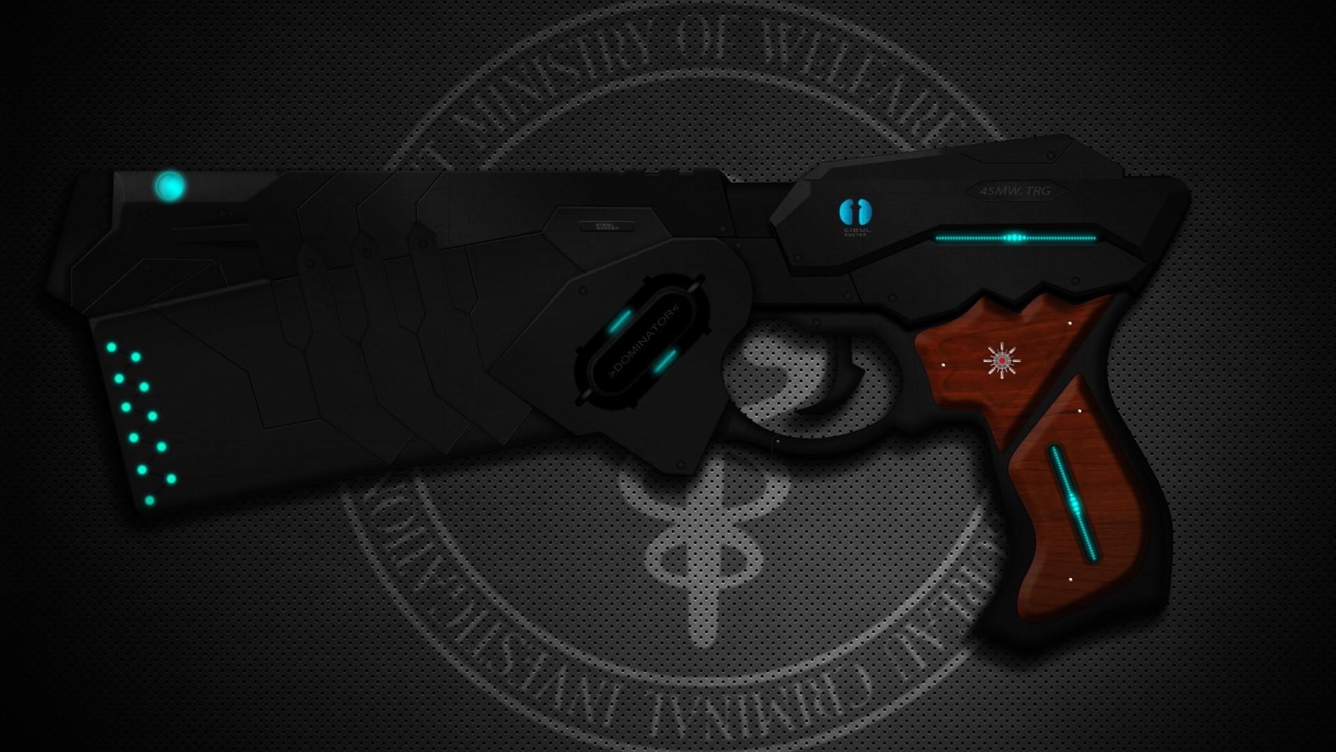 Anime Black Dark Dominator Guns Handguns Logos Psycho-Pass Science Fiction  Weapons