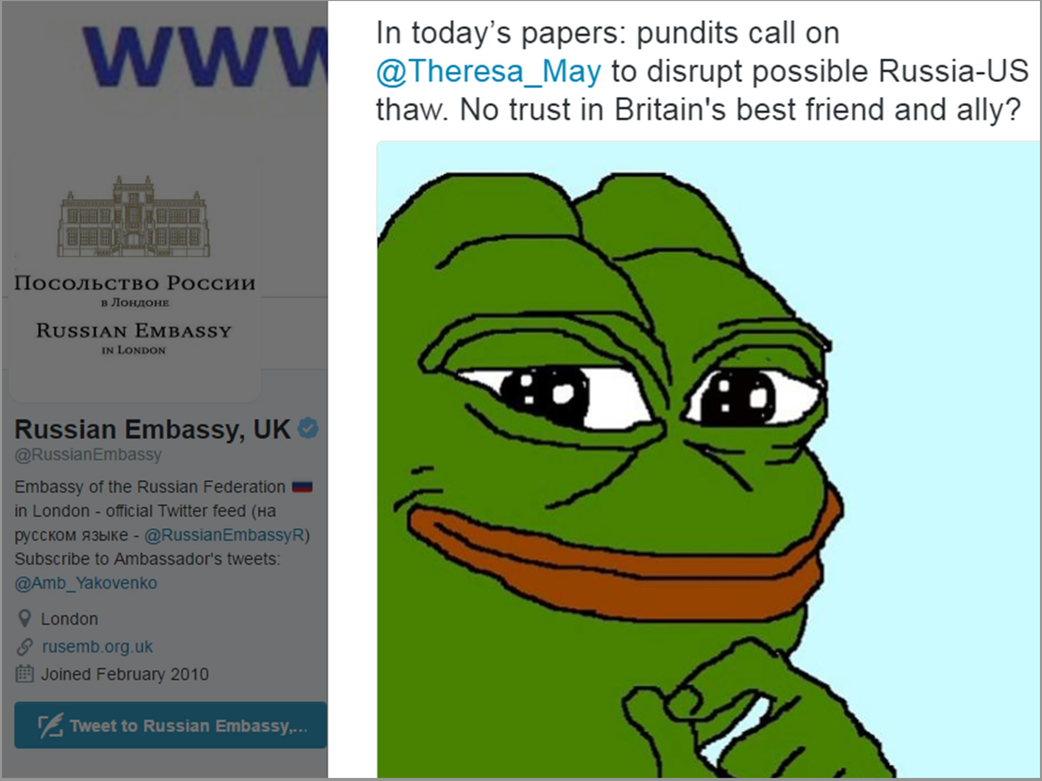 Russian embassy in London hits out at Theresa May with 'white supremacist'  Pepe the Frog meme | The Independent