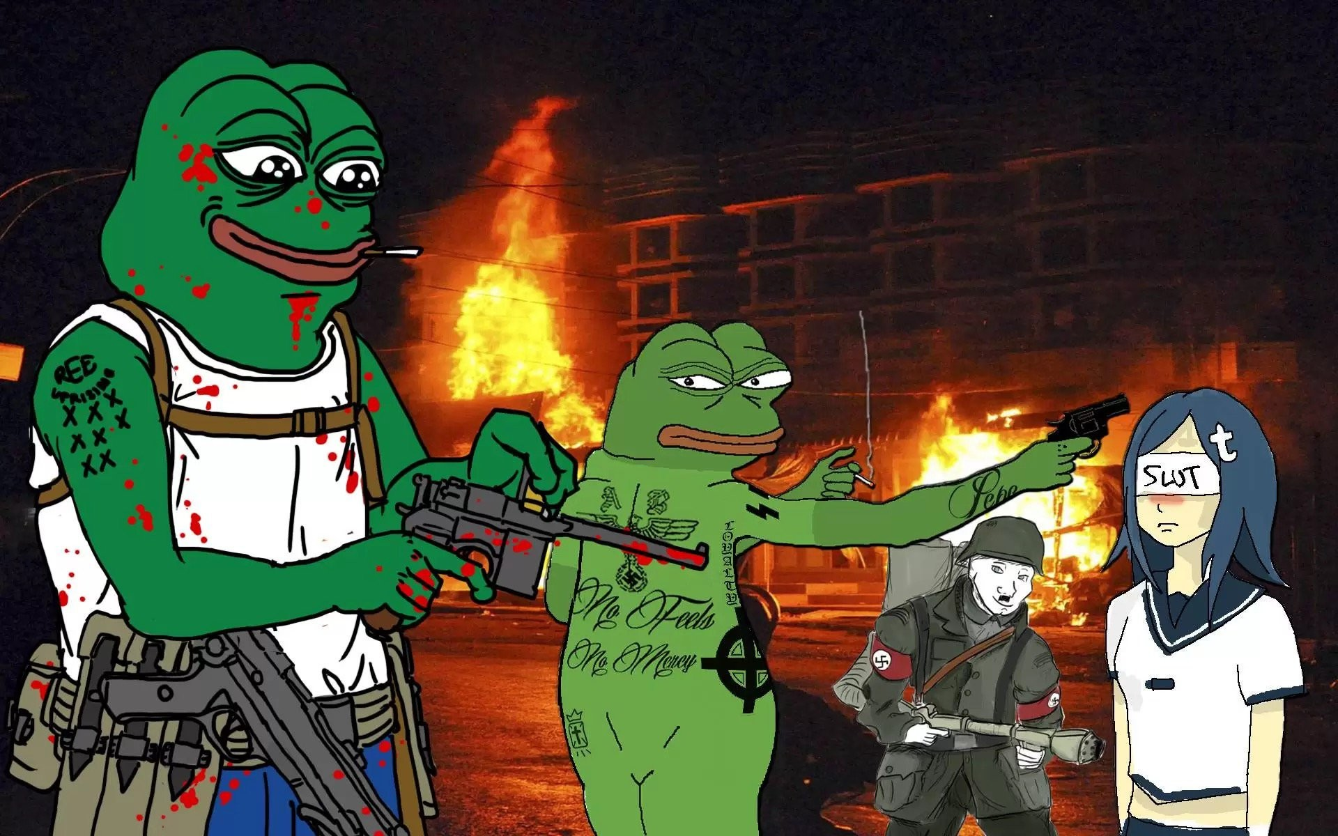 """Cooper Fleishman on Twitter: """"…as illustrated by this Pepe the Frog meme,  featuring Nazi Pepe killing a social justice warrior.  https://t.co/BLlaIQQ24P"""""""