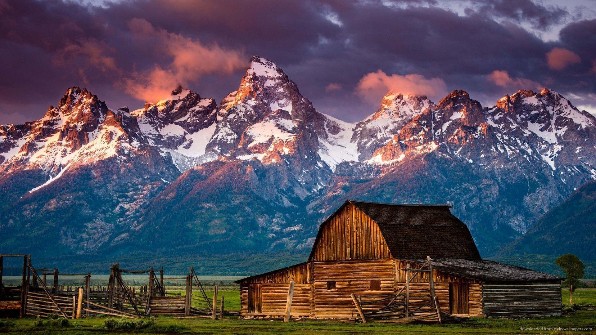 Mountain Log Cabin Desktop Wallpaper picture