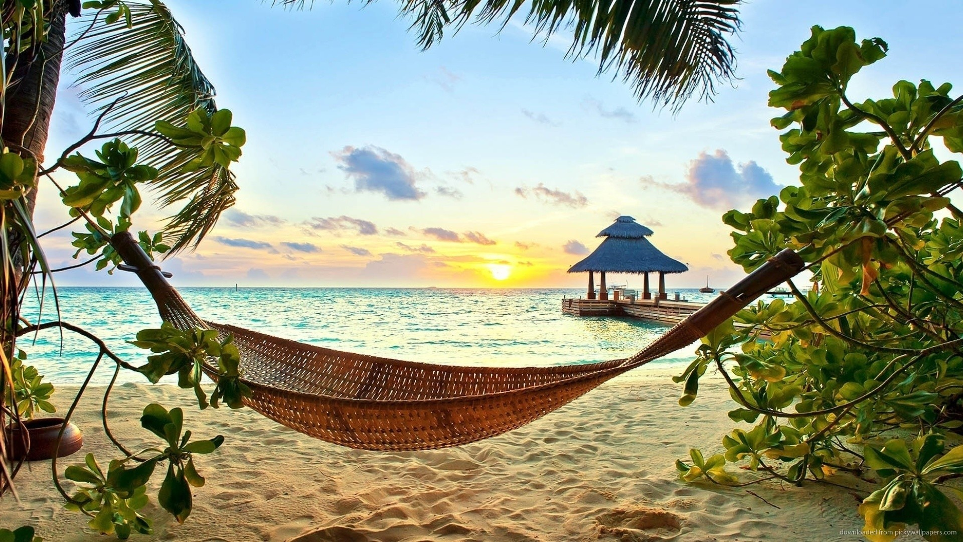 Beach Hammock At Sunset Wallpaper picture