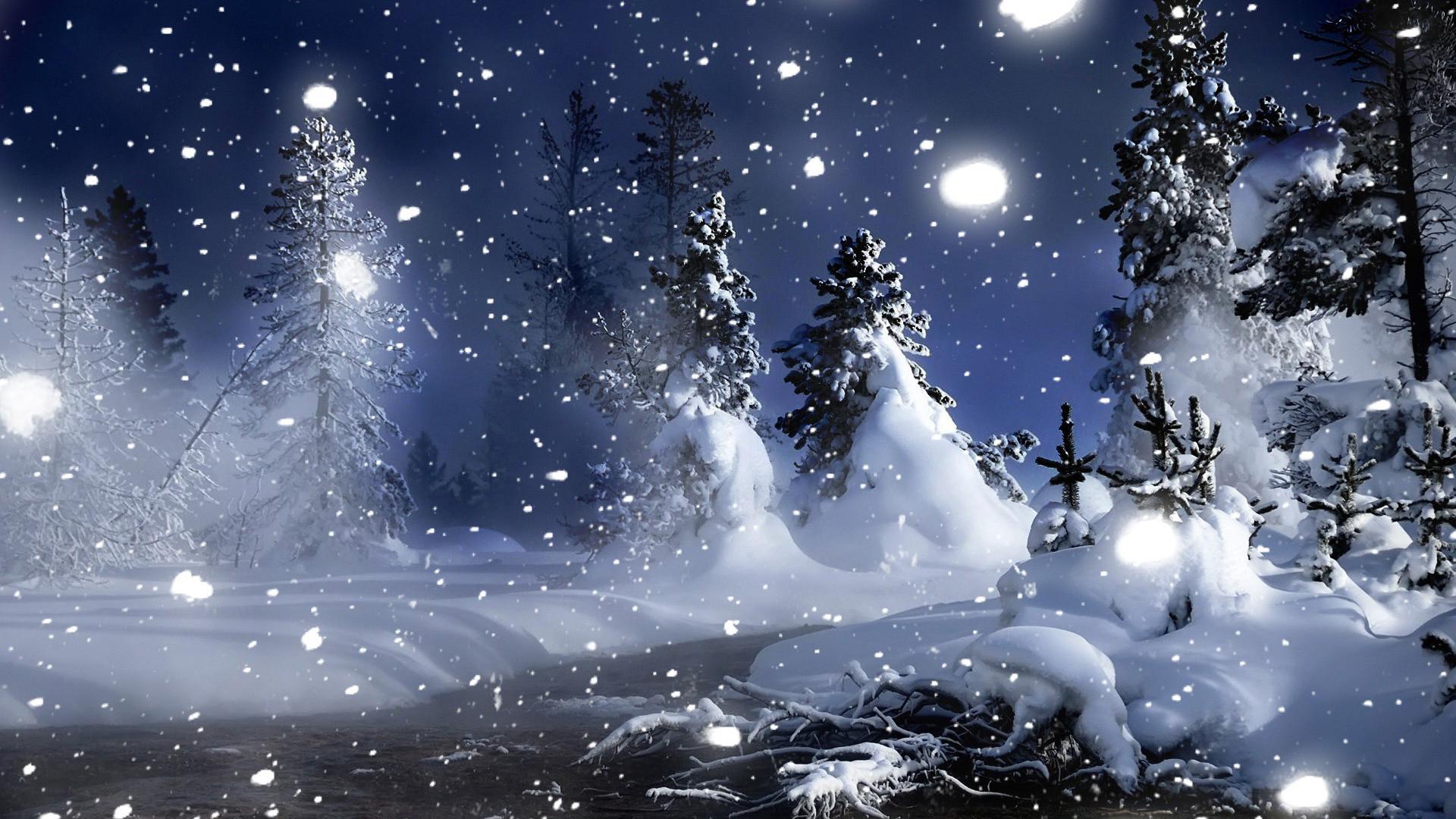 3D Winter Night Snow Desktop Wallpaper