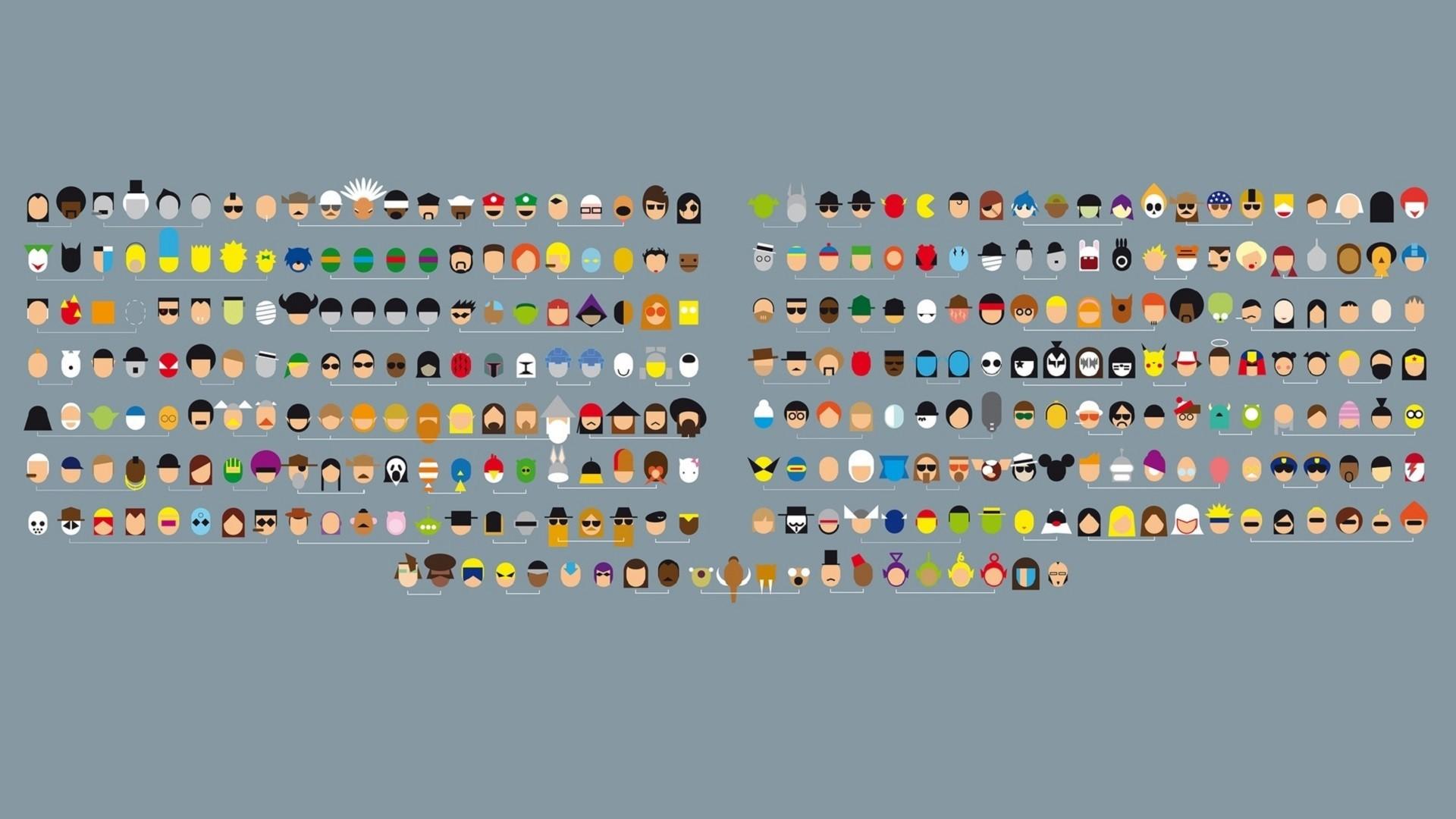 Minimalist Pop Culture Characters [1920×1080] : wallpaper