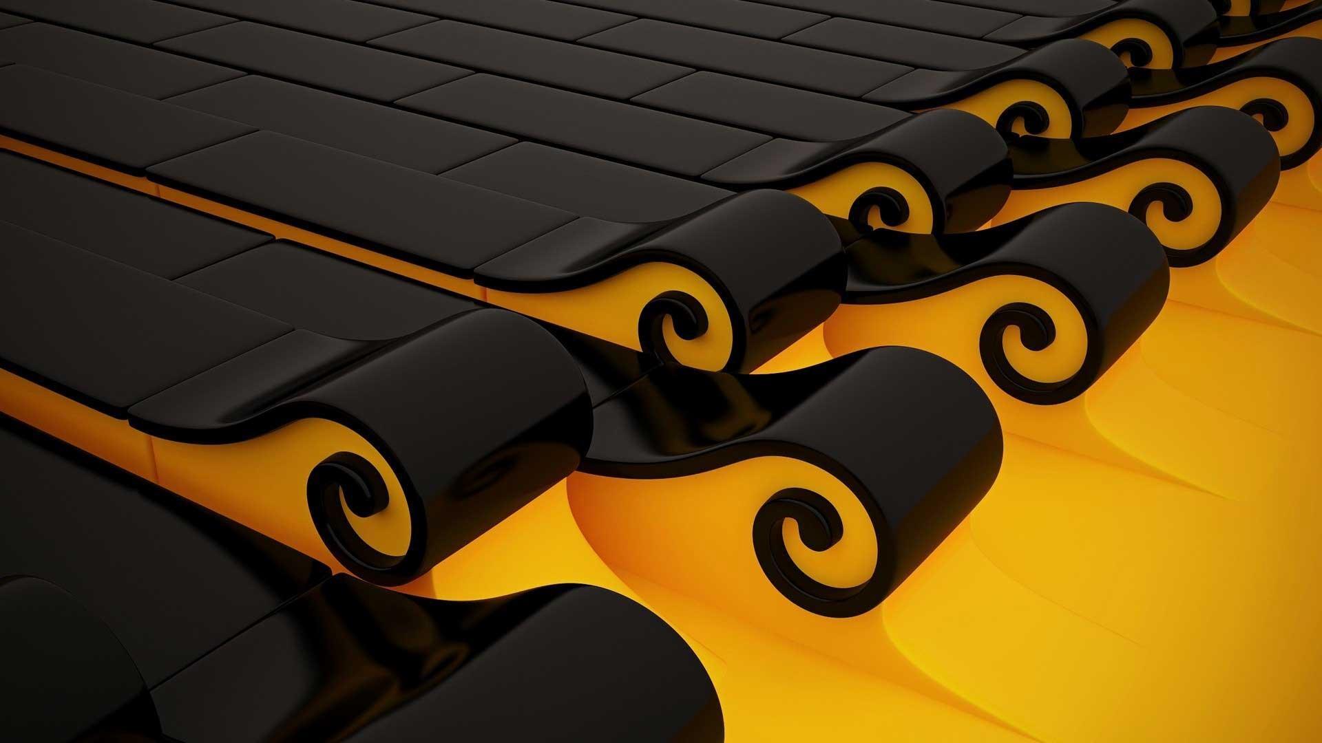 Yellow-And-Black-Art-Spirals-Full-Screen-HD