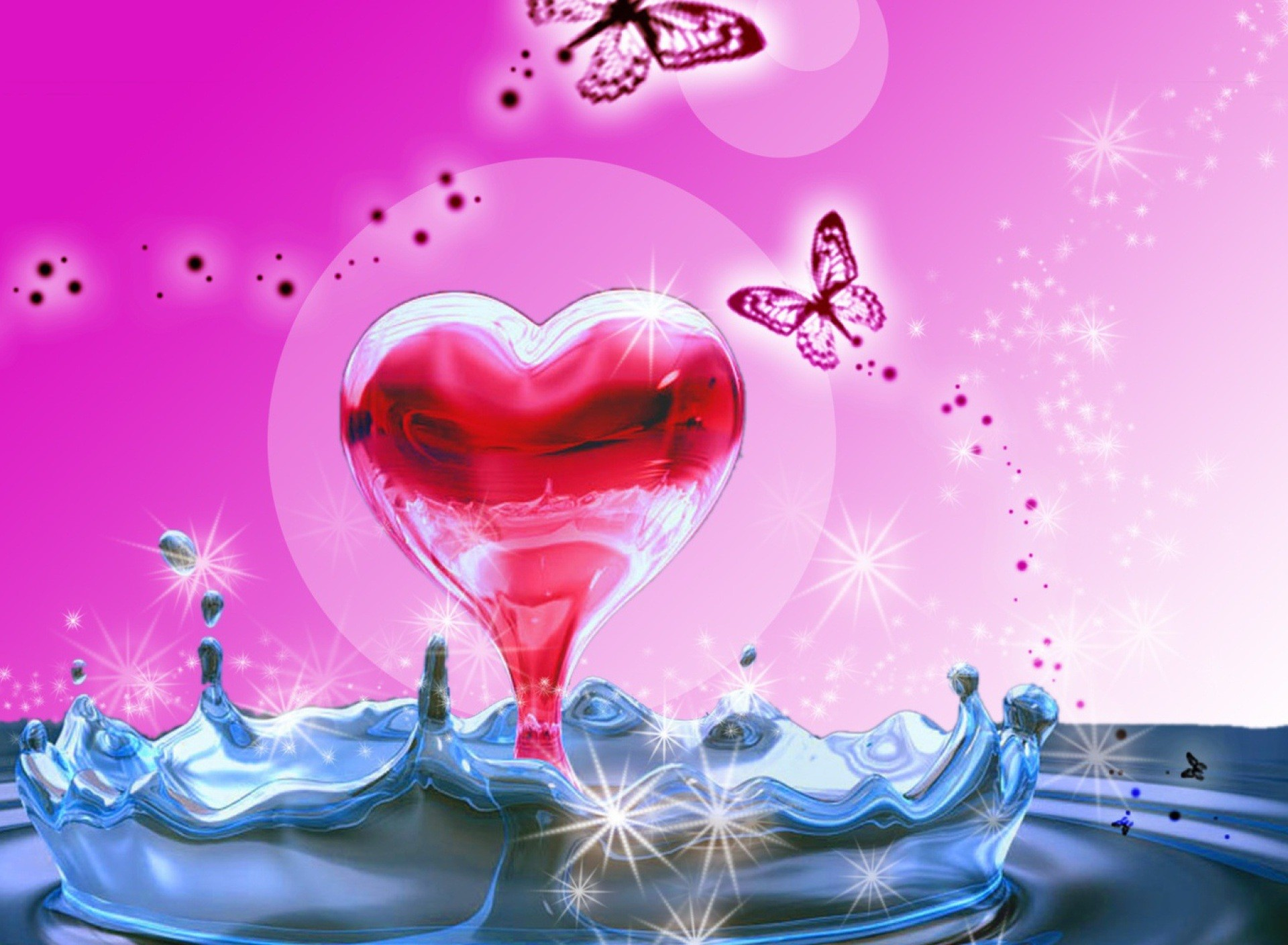 3D Heart In Water wallpaperwallpaper screensaver .