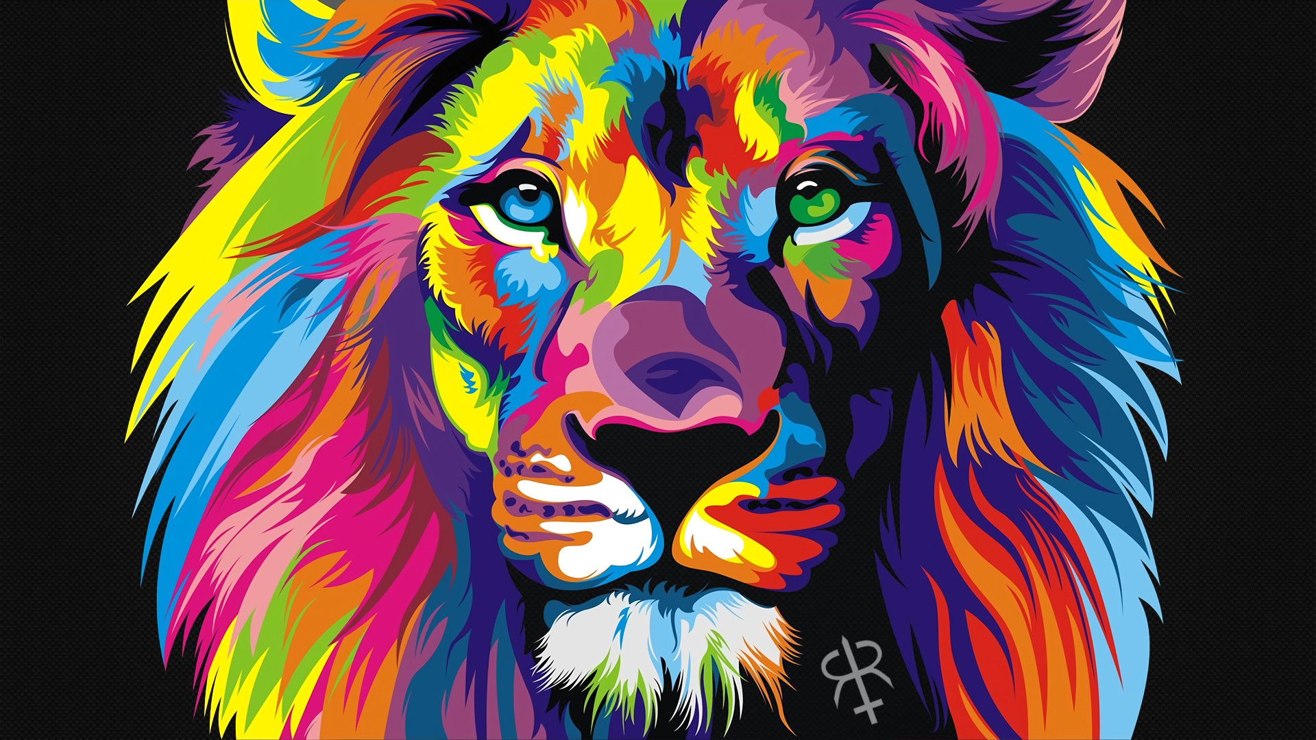 Facepaint bodypaint inspired by Lisa Frank colorful lion .
