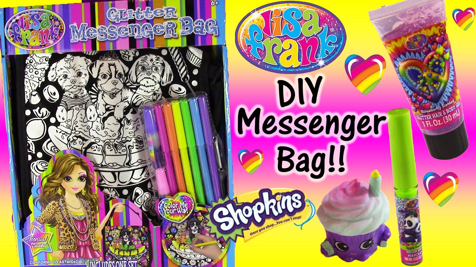 DIY Lisa Frank Messenger Bag! Lisa Frank Hair Glitter Lip Gloss Compact  Season 4 Shopkins! – YouTube