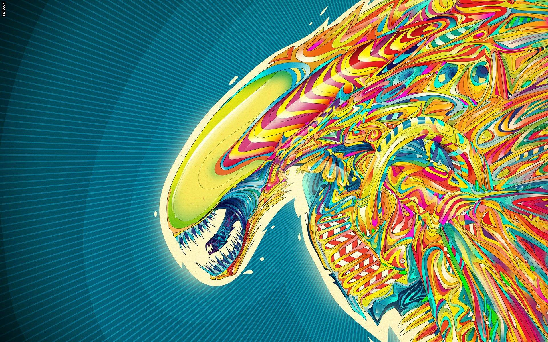 Psychedelic Alien (x-post from /wallpapers) …