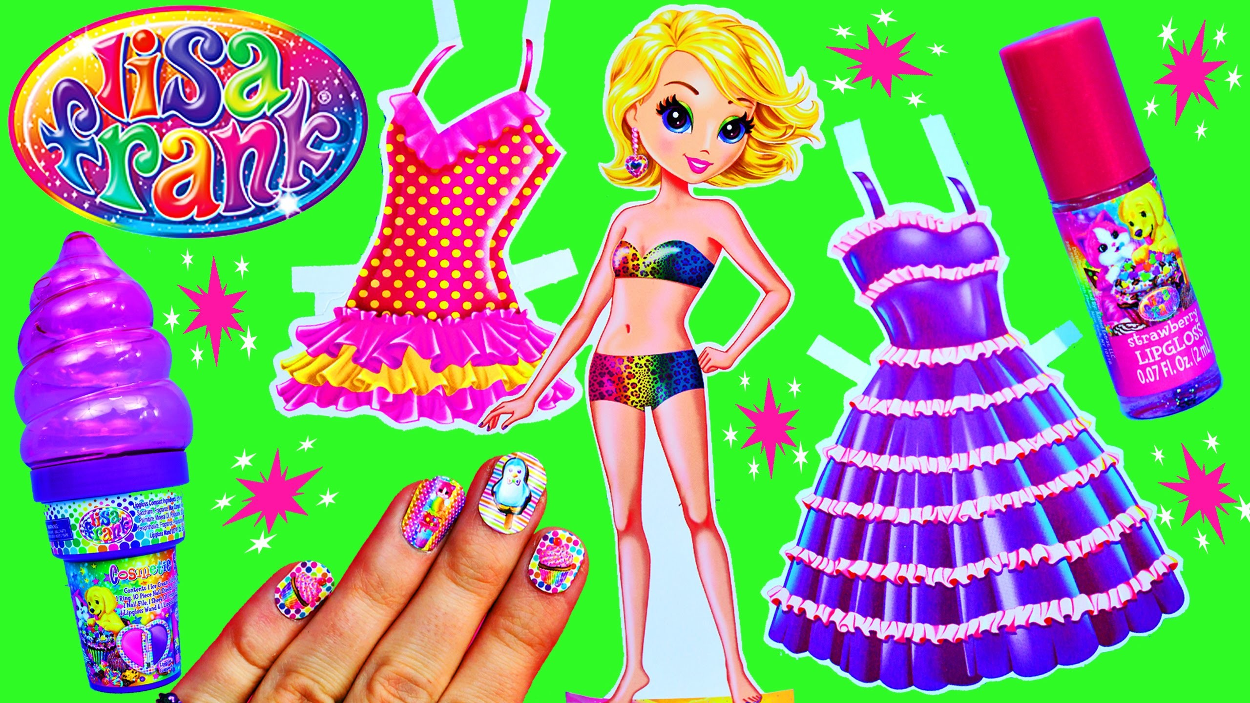 LISA FRANK Toys Paper Dolls Dress-Up Stickers & Surprise Ice Cream Cone  Makeup Cosmetics & Lip Gloss – YouTube