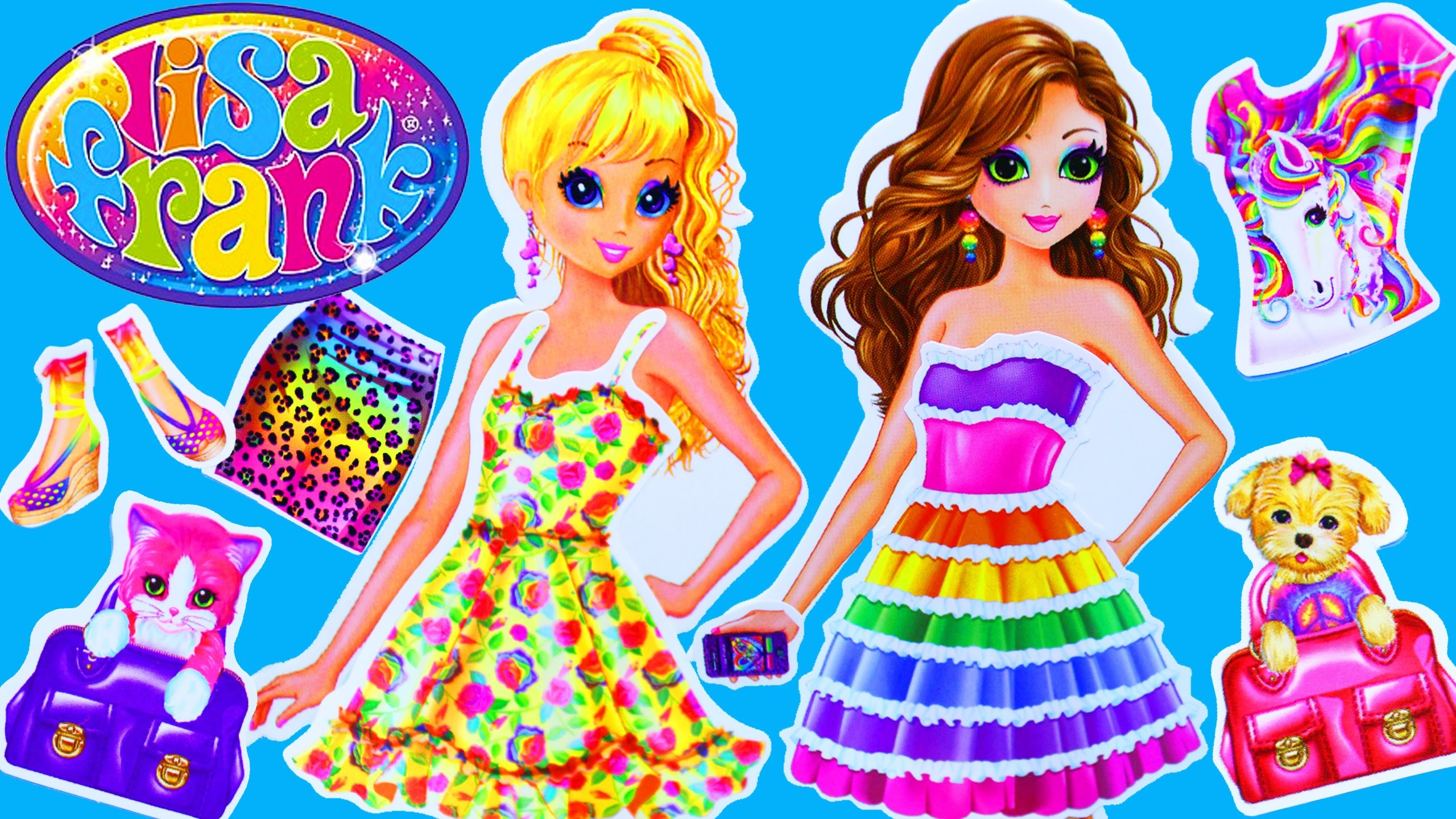 LISA FRANK Toys Paper Dolls Dress-Up Stickers Contest With Dresses, Shoes,  Puppy & Kitten – YouTube