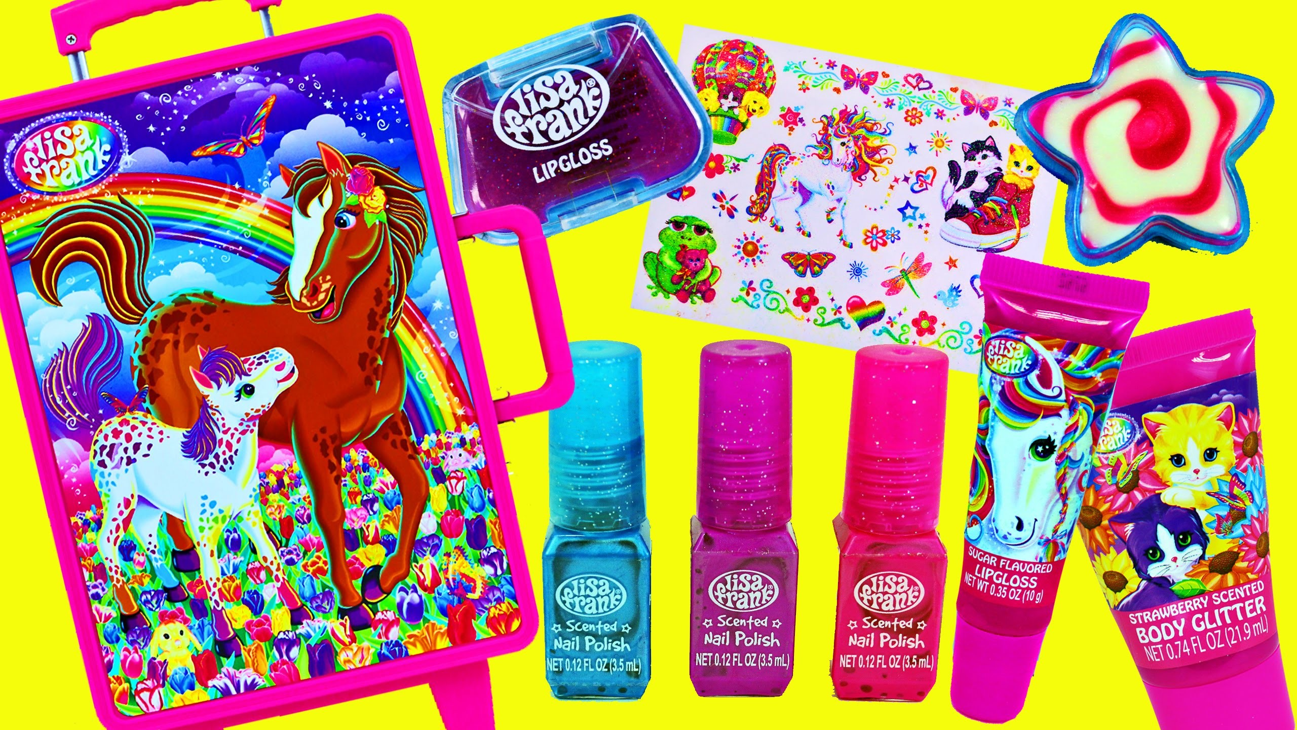 Surprise Toys & Makeup Suitcase! Lisa Frank Rolling Luggage Make Up Fashion  & Barbie Makeover – YouTube