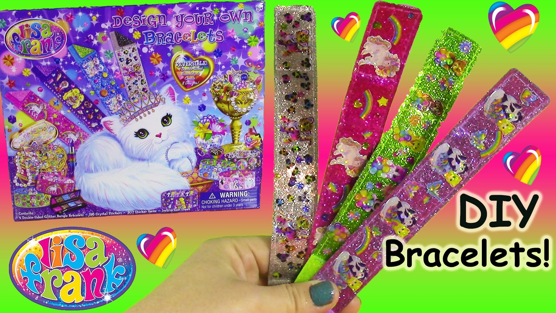 Lisa Frank Design Your Own Bracelets Kit! DIY Reversible Braclets with  Stickers and Gems! FUN – YouTube