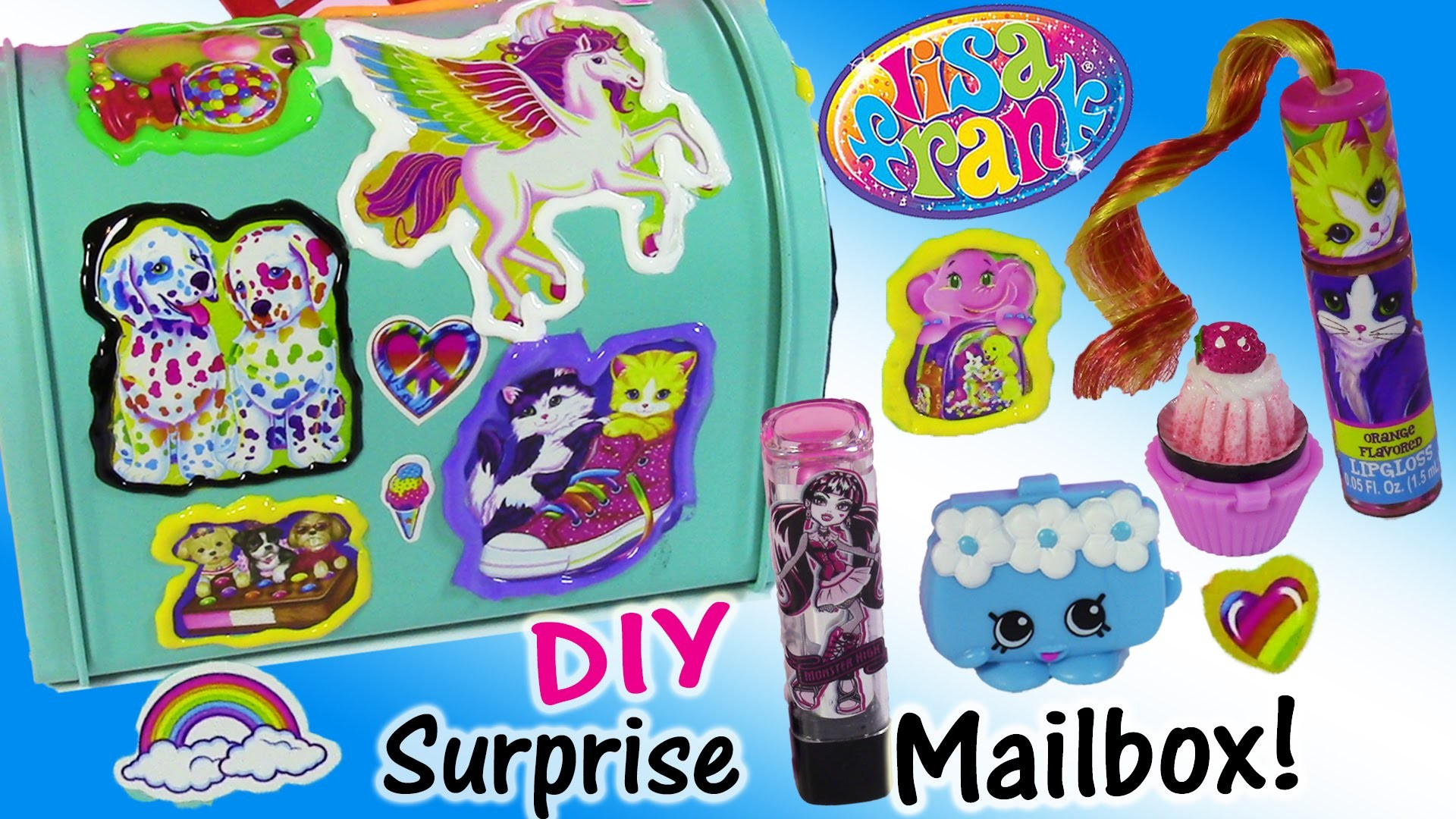 DIY Lisa Frank Surprise Mailbox! Decorate with Stickers & PUFFY Paint! Lip  Gloss SHOPKINS! – YouTube