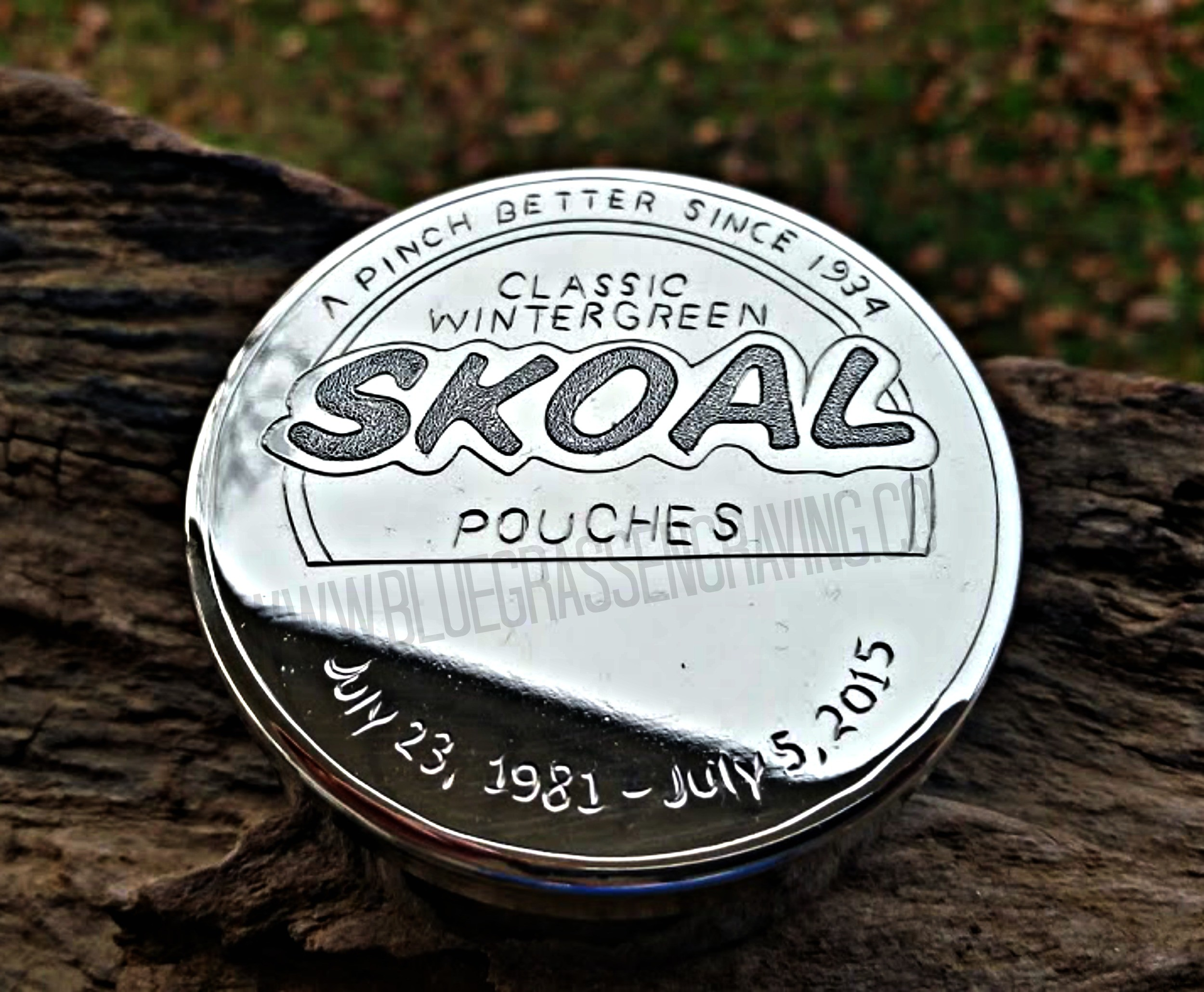 Personalized Skoal dip can, engraved with name on bottom of can. Available  at www