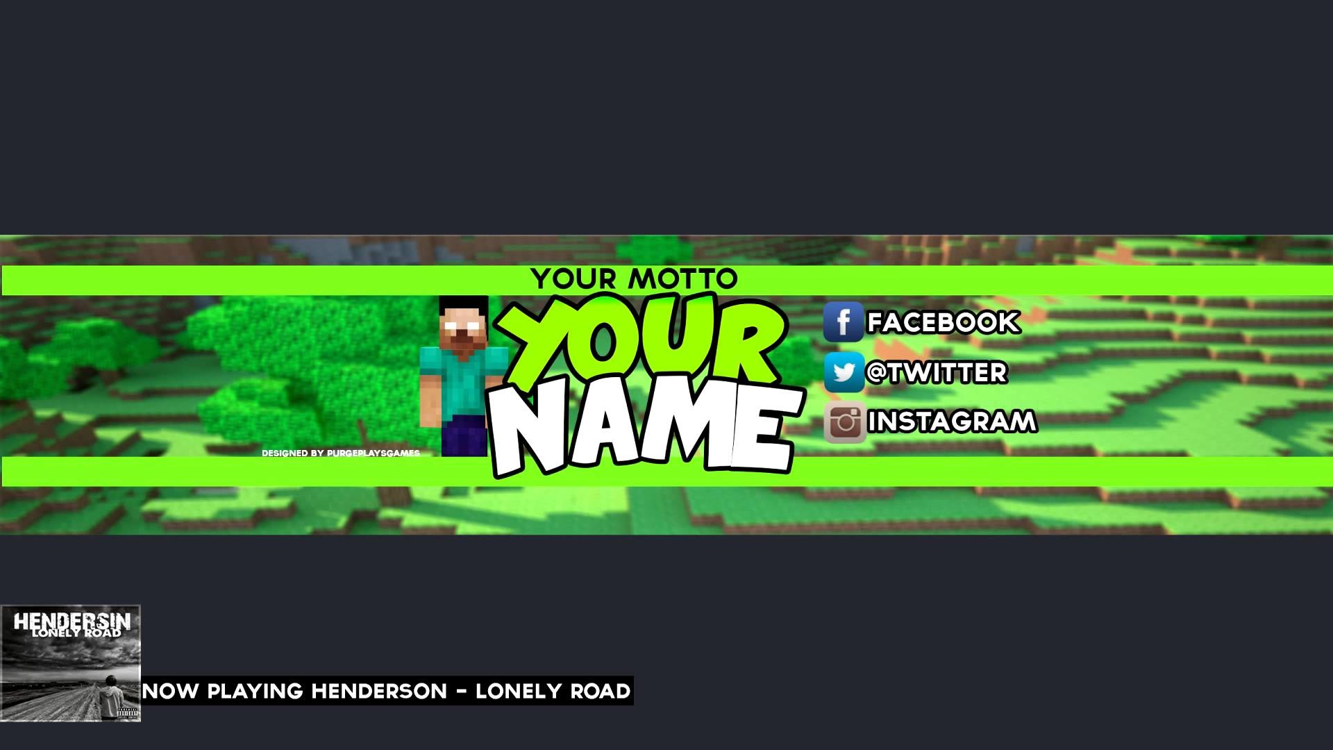 Free Minecraft YouTube Banner/Channel Art Template PSD Download! – YouTube