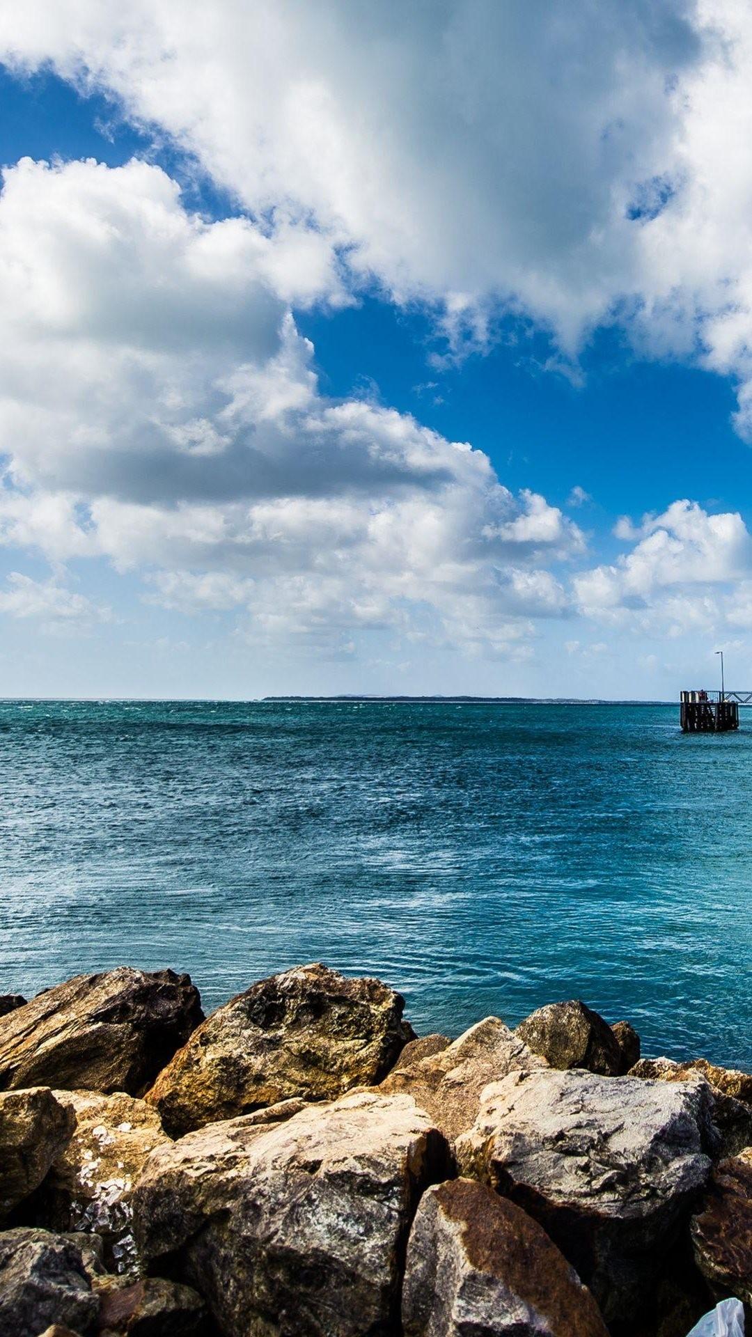 Calm Sea Rocks Lockscreen iPhone 6 Plus HD Wallpaper …