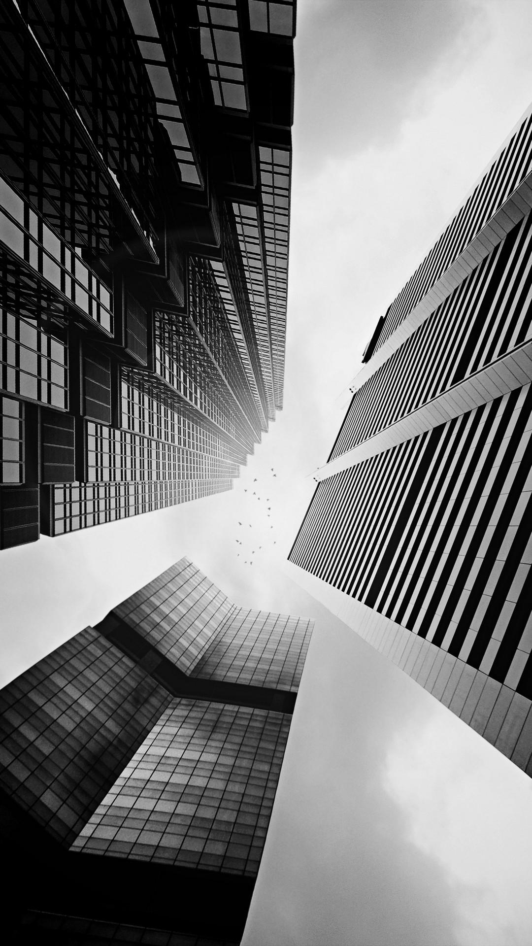 Skyscraper Buildings Black White Lockscreen iPhone 6 Plus HD Wallpaper …