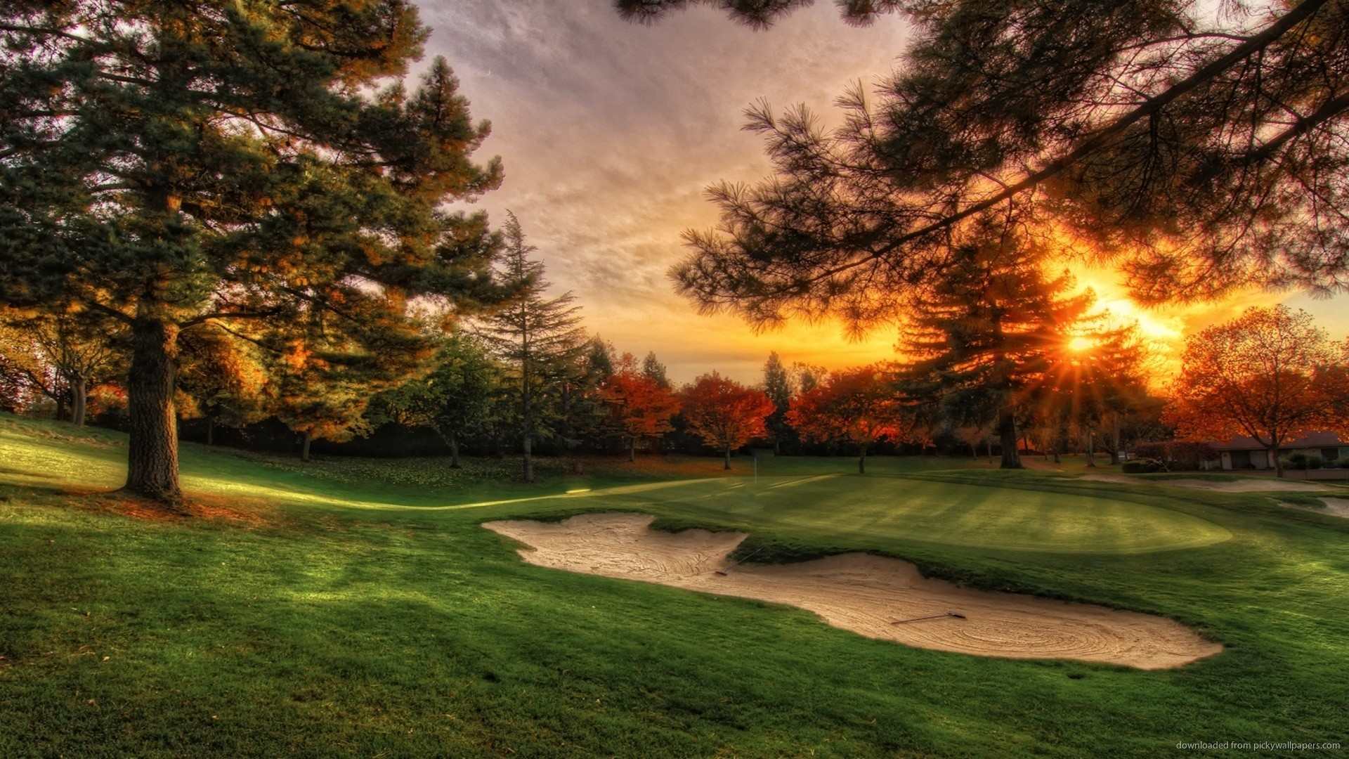 Golf Course Sunset PC Wallpaper picture