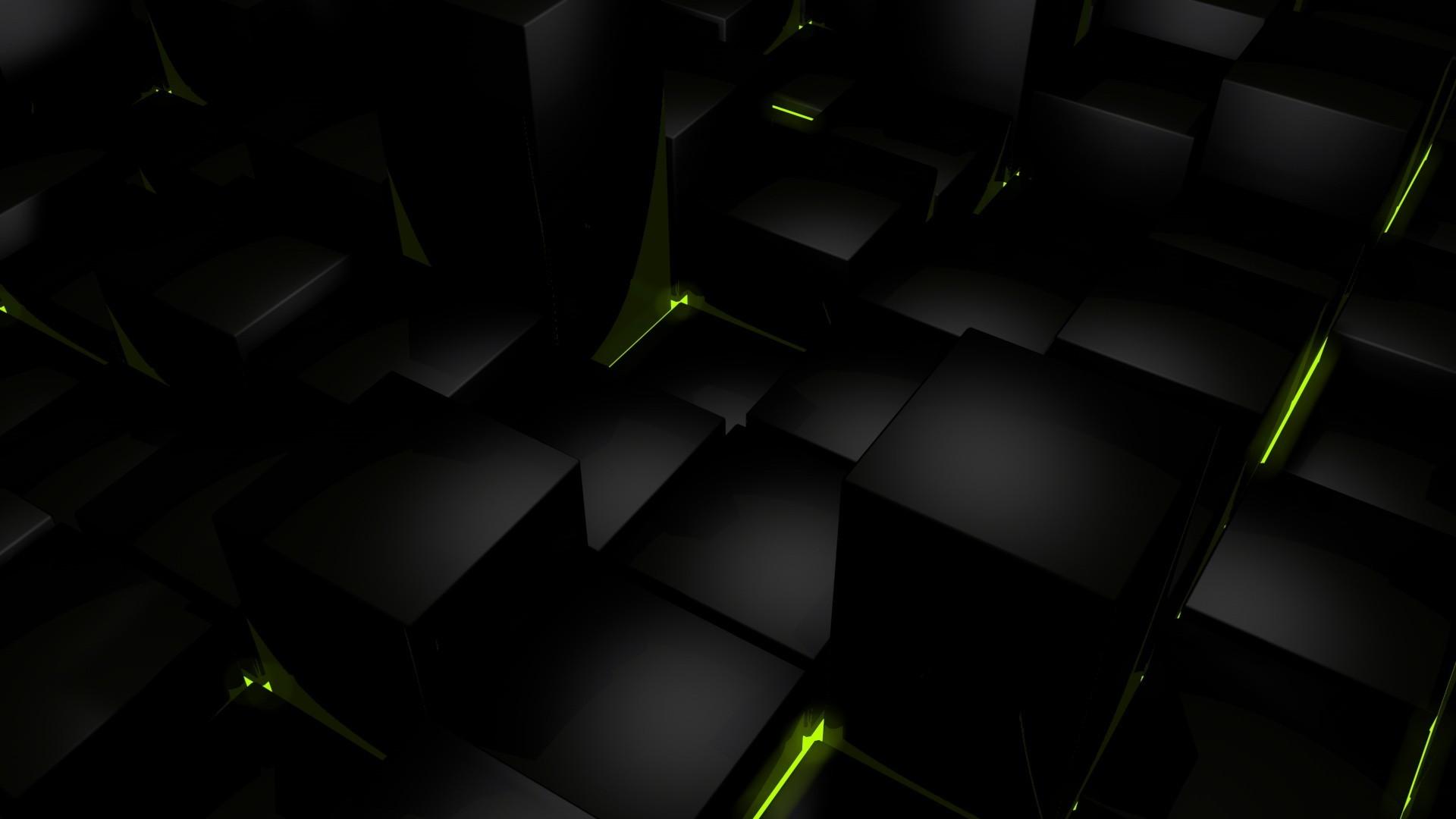 Dark cubes glow computer graphics wallpaper     67125 .