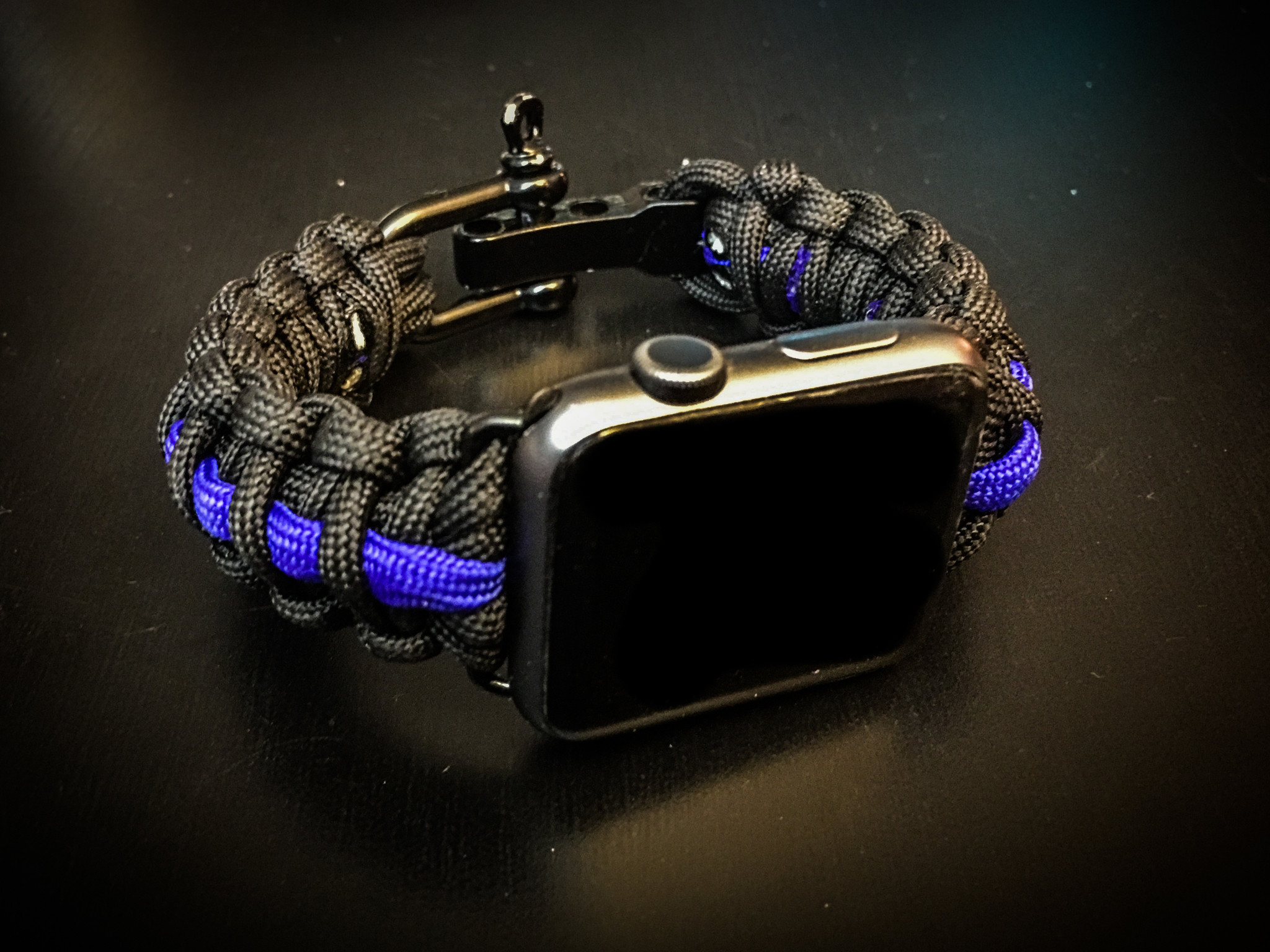 Apple Watch Paracord Band – Thin Blue Line Style, Police, Law Enforcement,  Black
