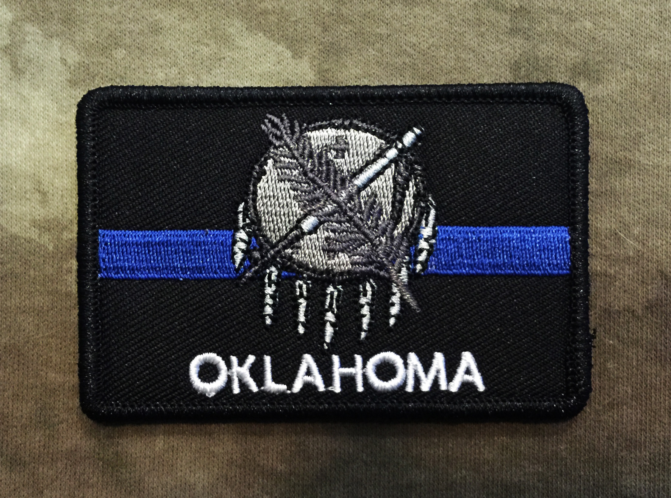 Thin Blue Line Oklahoma State Flag Patch