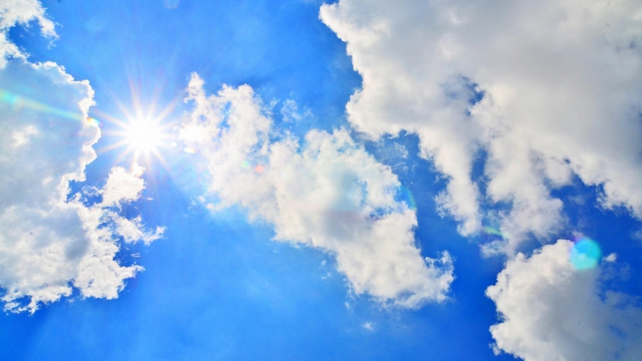 Wallpaper blue sky, sun, light, clouds, day, air