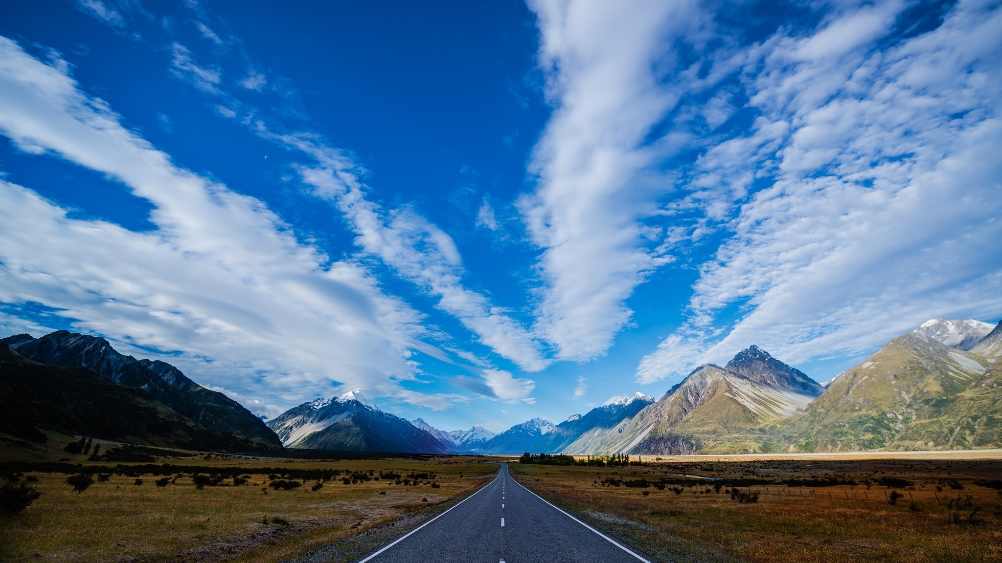 Wallpaper new zealand, road, highway, mountain, blue, sky, clouds
