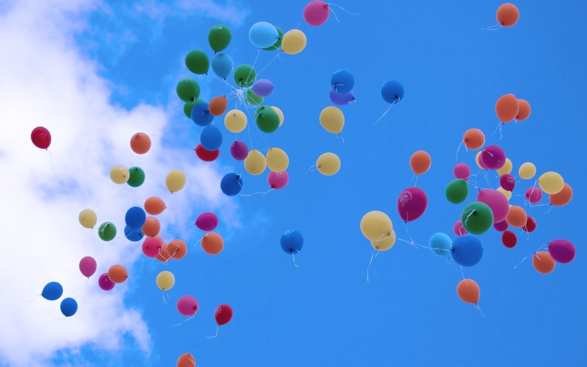blue sky, sky, balloon, clouds