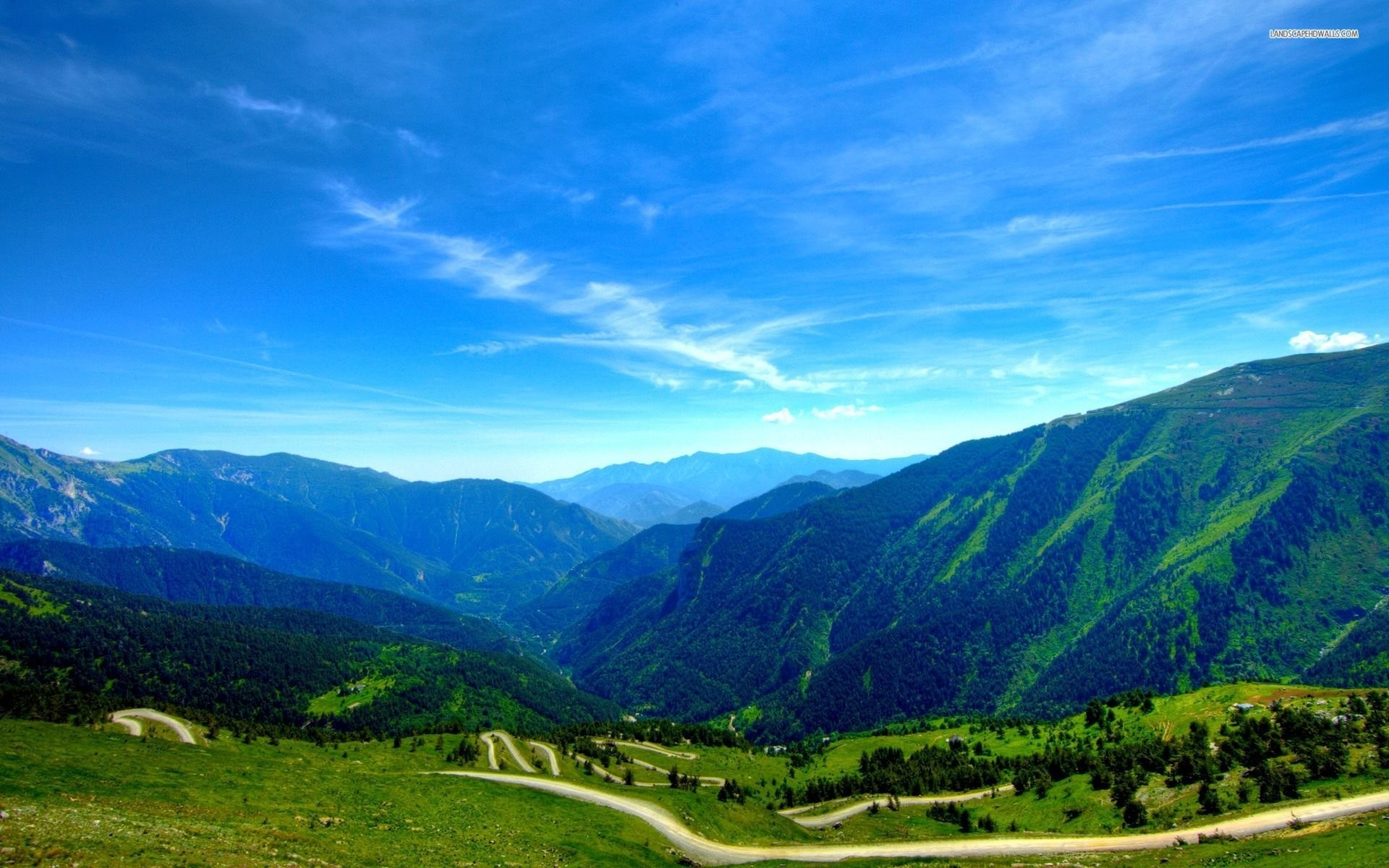 Beautiful Clear Blue Sky Over The Green Mountains