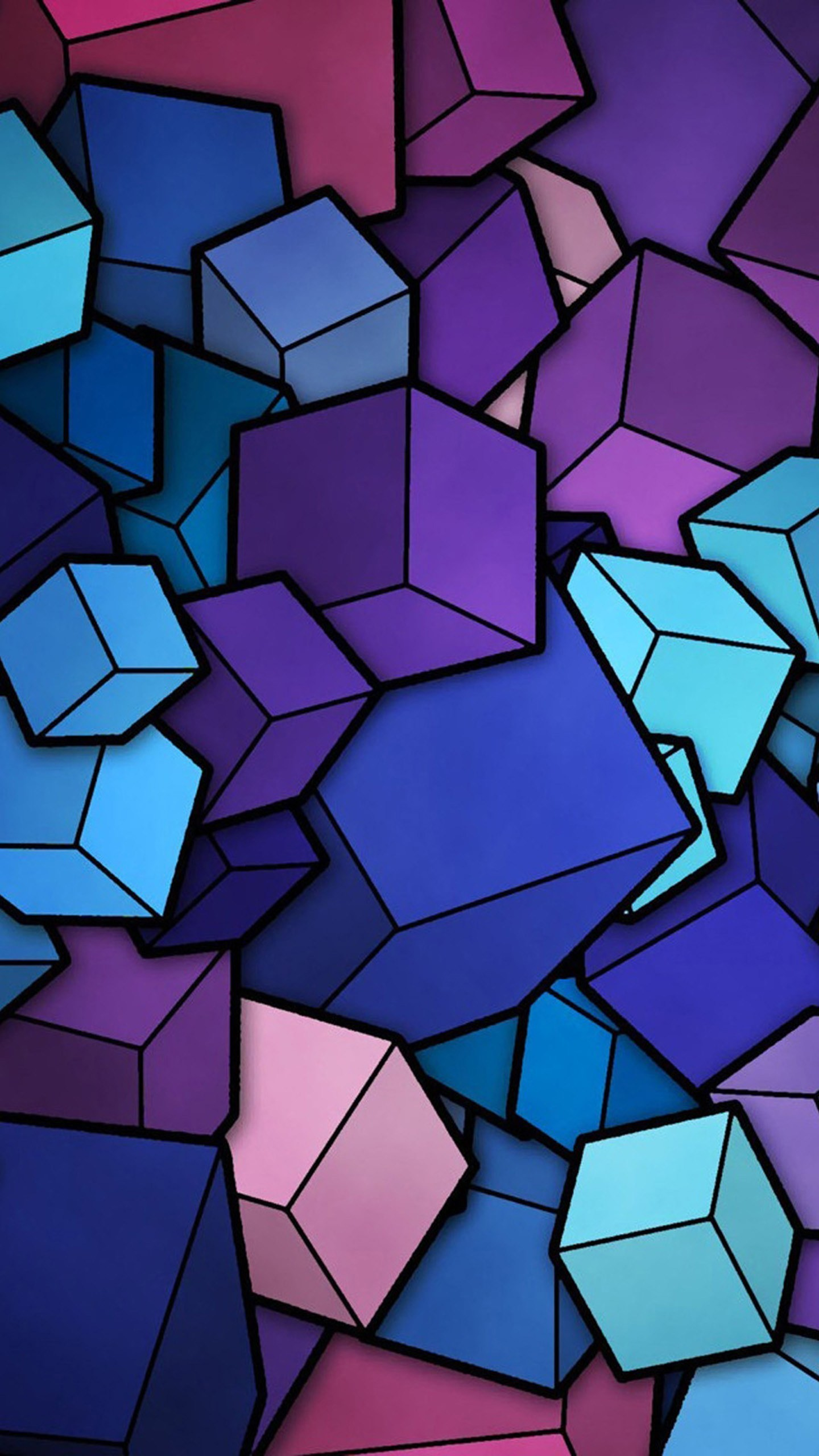 Abstract Cubes Blue Purple Wallpaper Galaxy S6, LG G4, HTC One M9