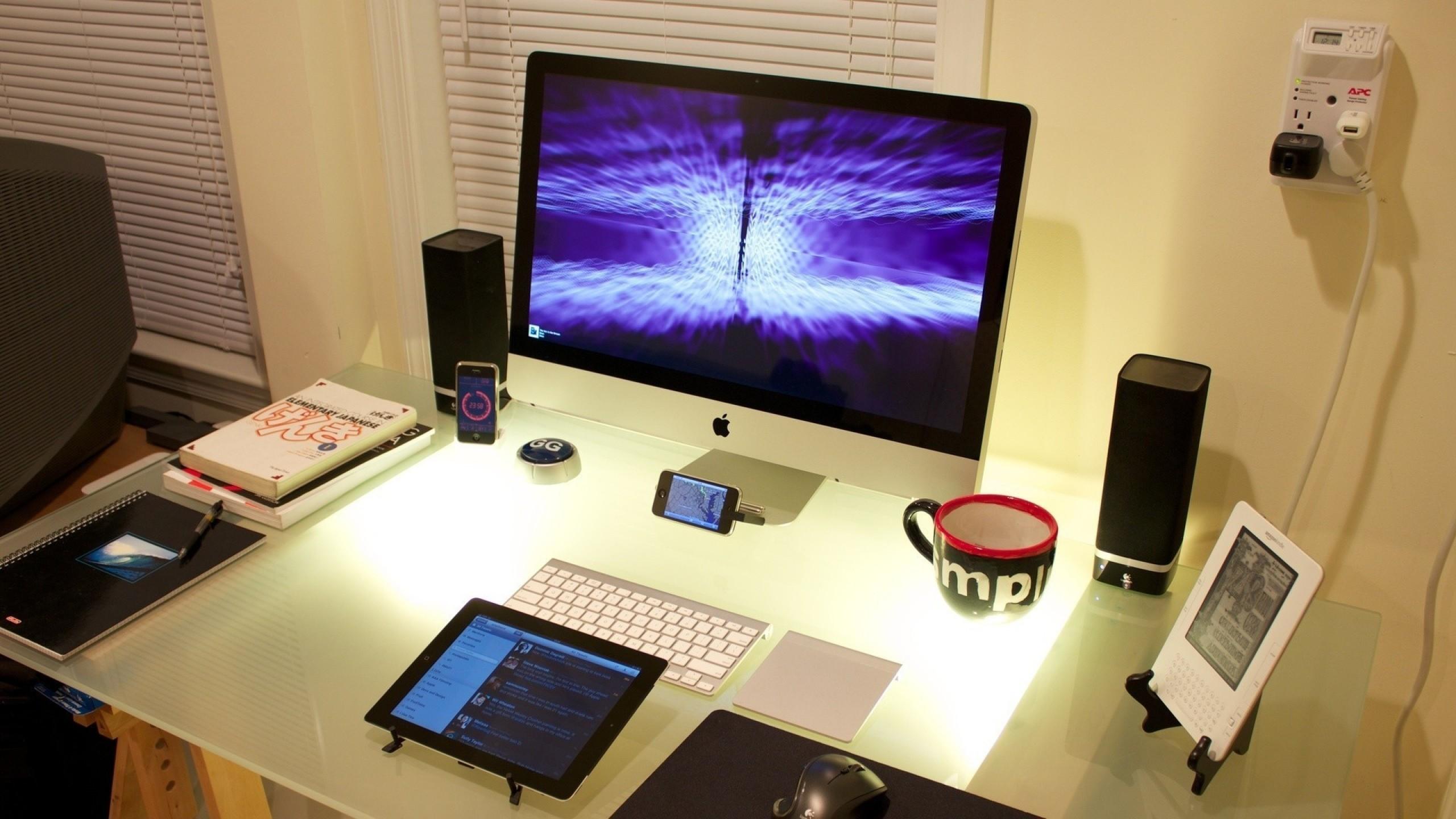 Wallpaper book, phone, gadget, monitor, table, furniture
