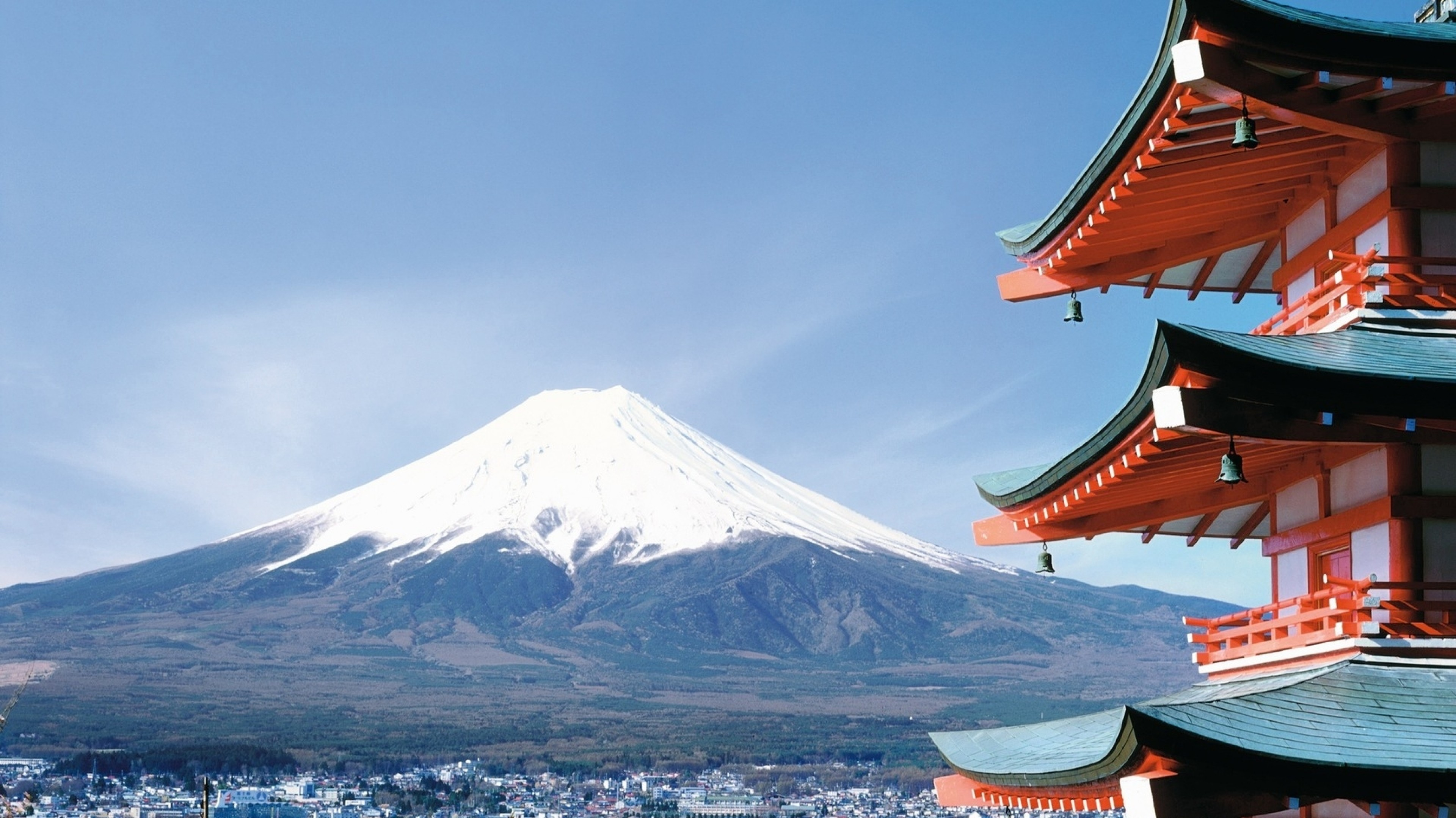 Wallpaper fuji, japan, city, sakura