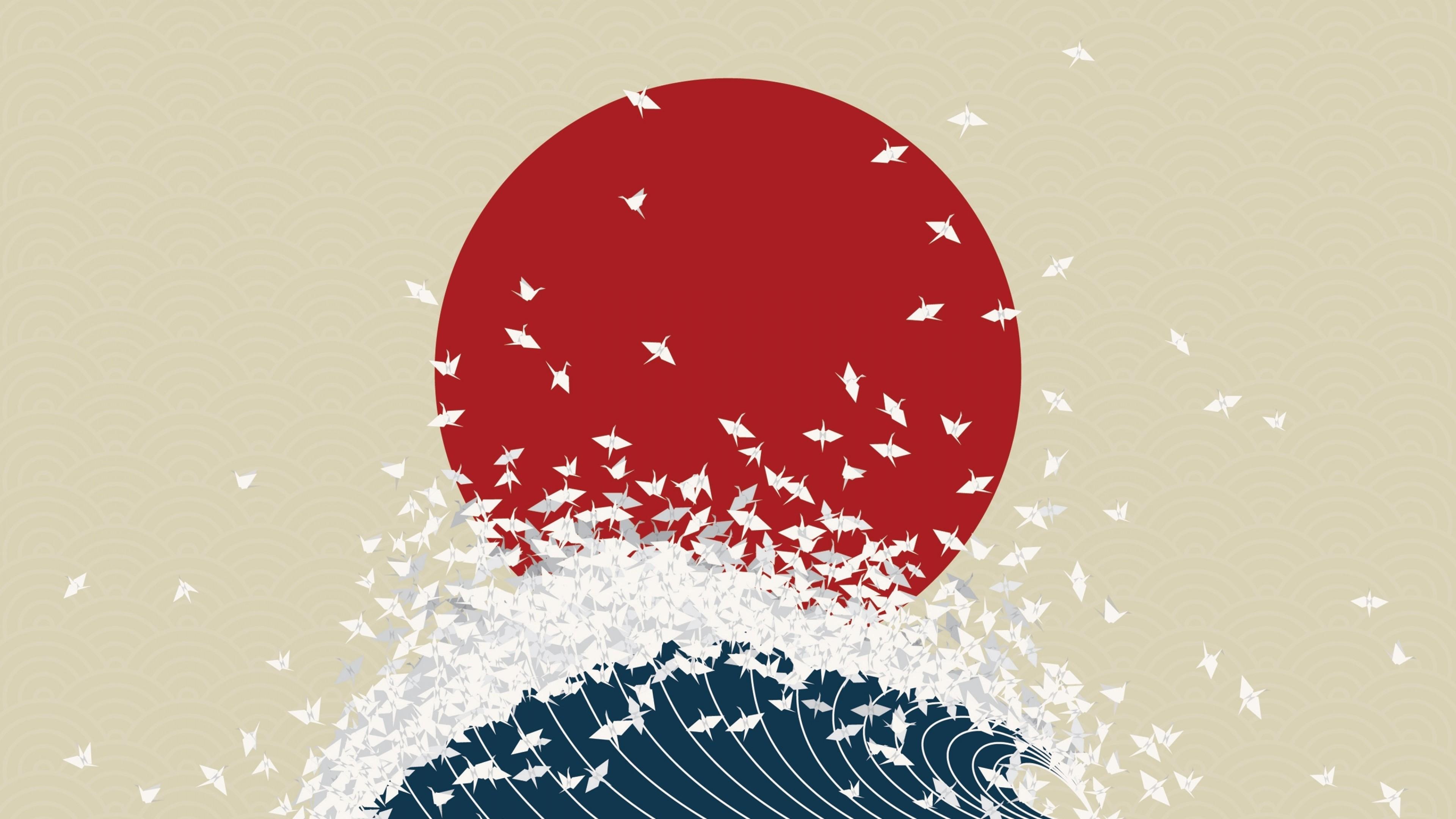 Wallpaper minimalism, origami, japan, rising sun, wave