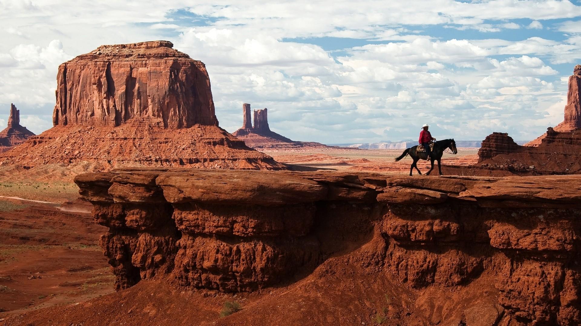 Preview wallpaper canyon, desert, horseback rider, wild west, cowboy  1920×1080