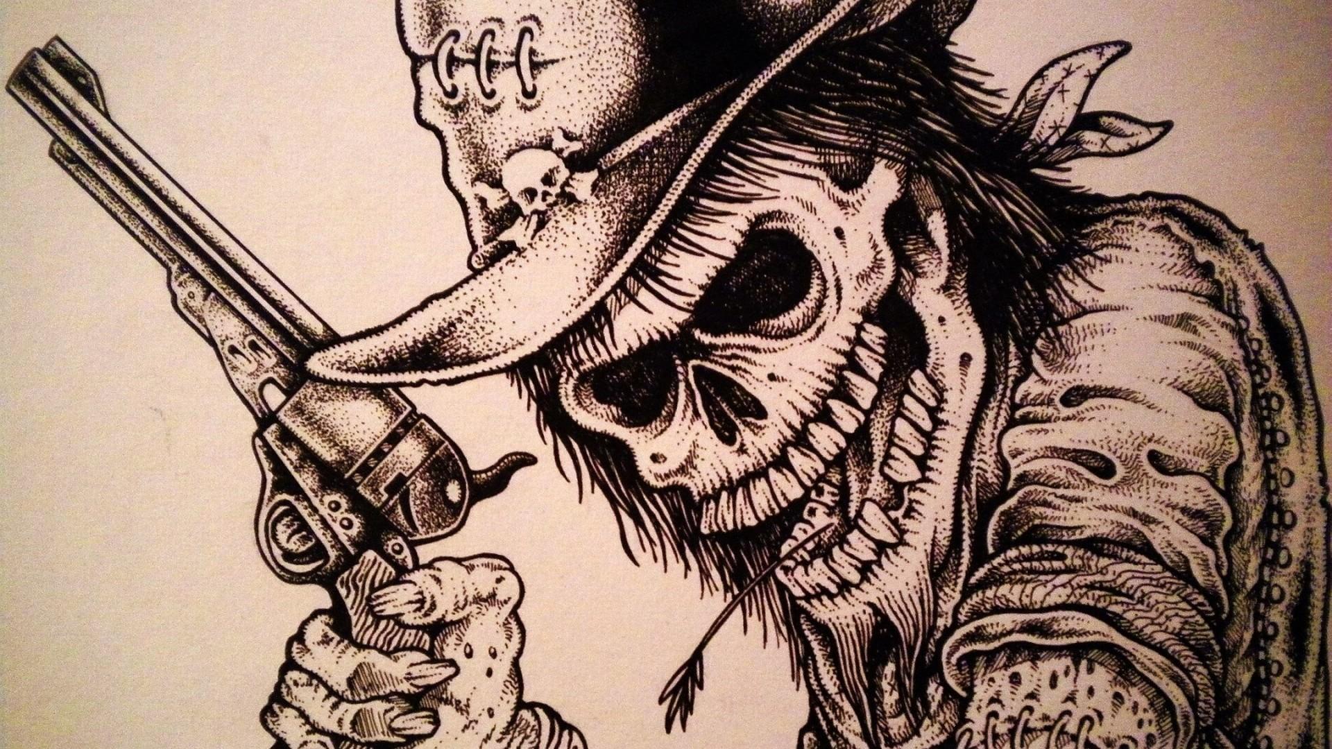 Skull Skulls Dark Western Weapon Gun Pistol Wallpaper At Dark Wallpapers