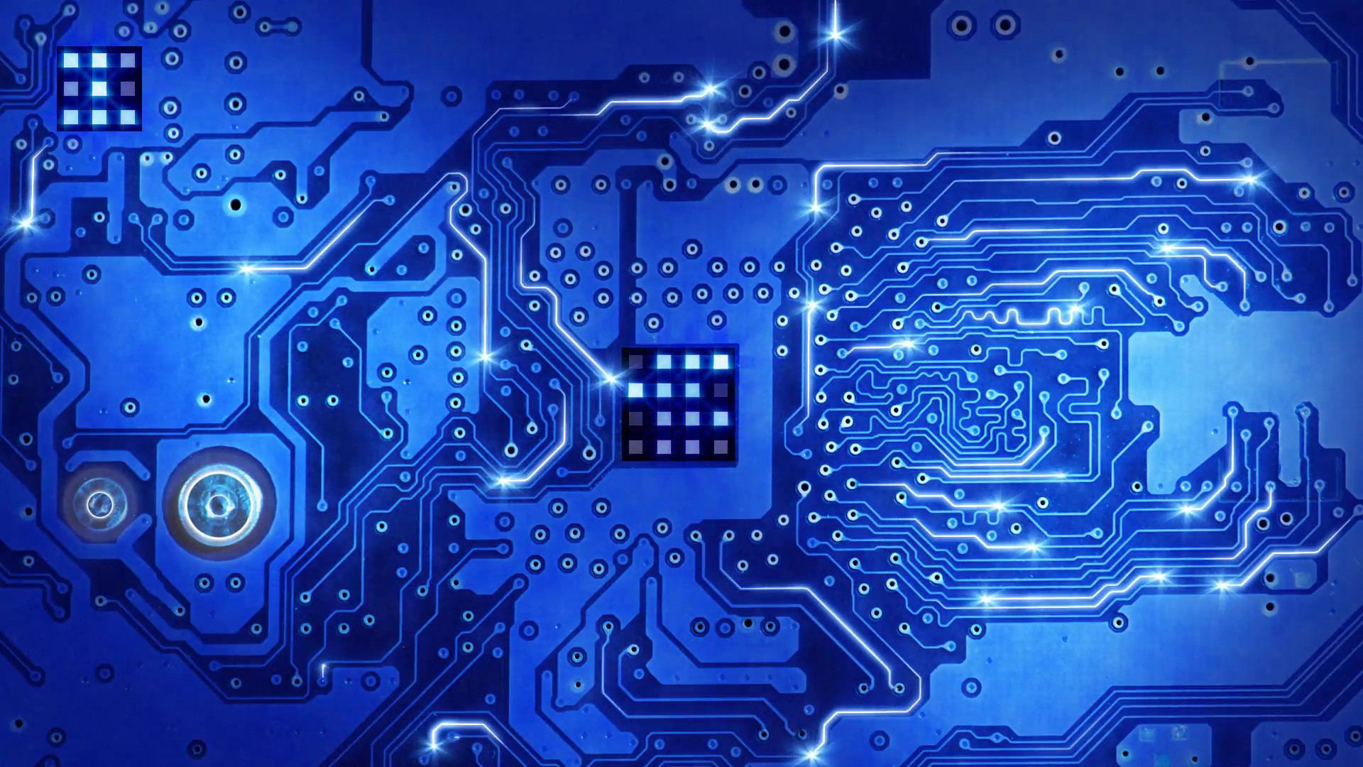 Blue Circuit Board And Empty Space Loop Stock Footage Video .