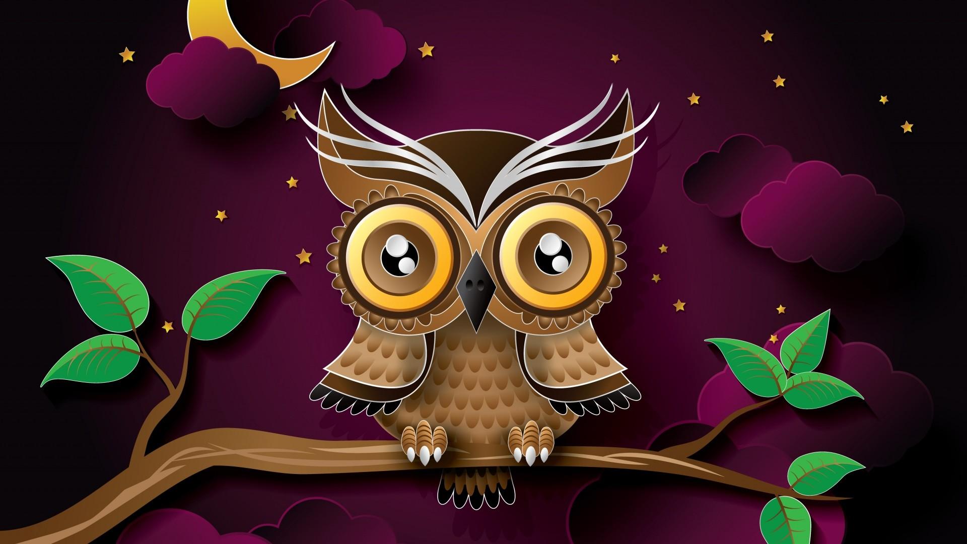 Preview wallpaper owl, bird, art, branch 1920×1080