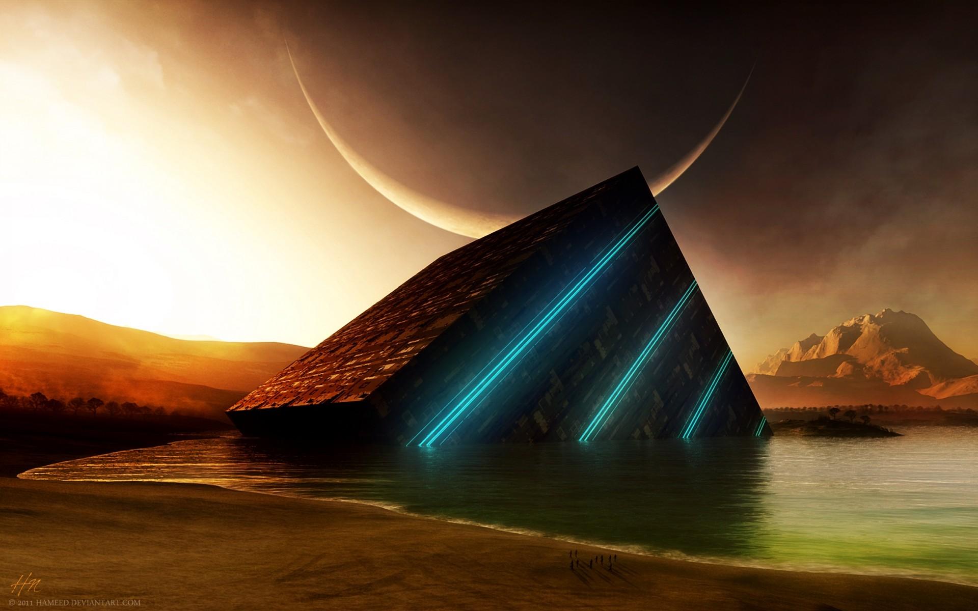 3D Pyramid HD Wallpaper