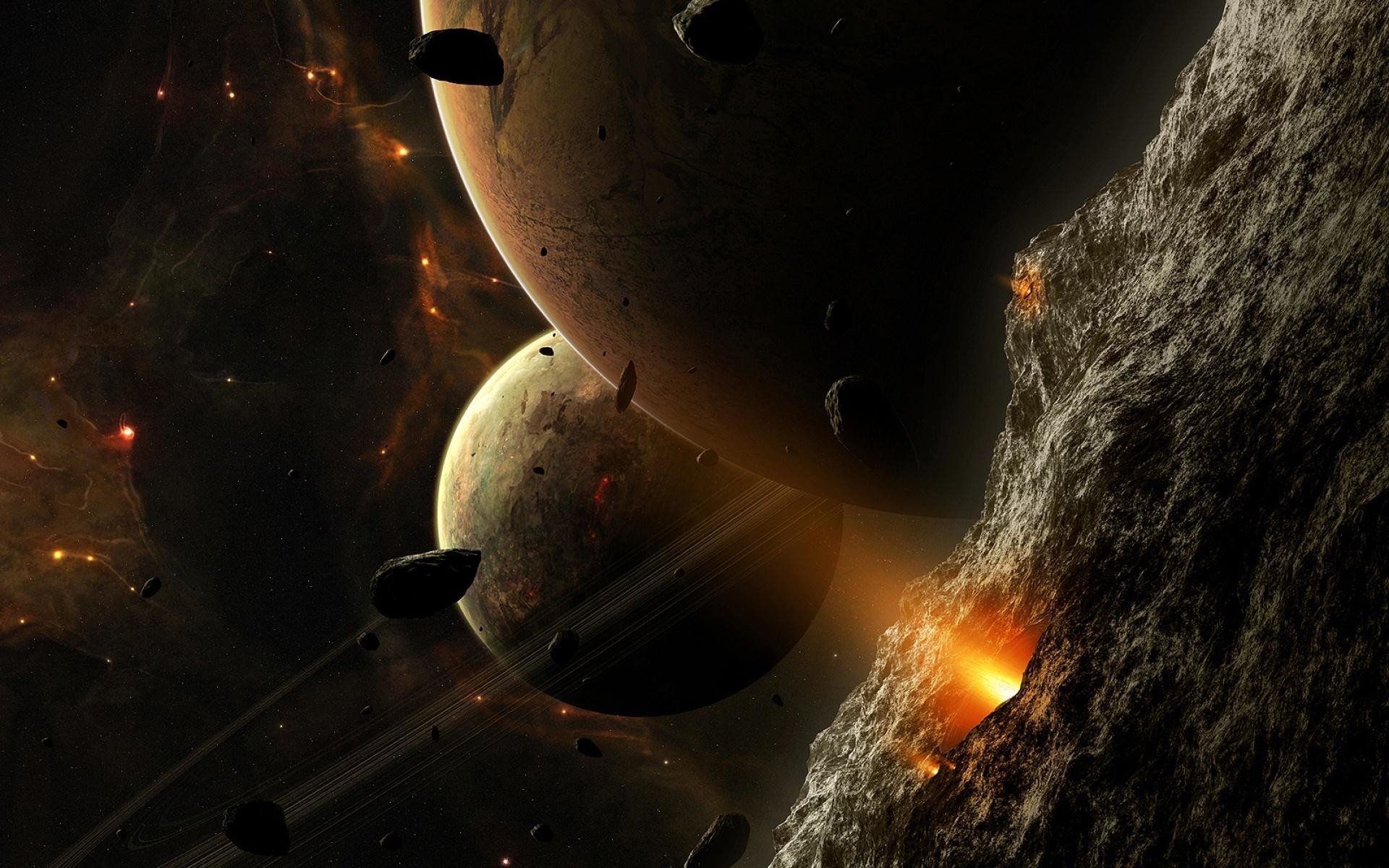 universe and planets digital art wallpapers Desktop Wallpaper