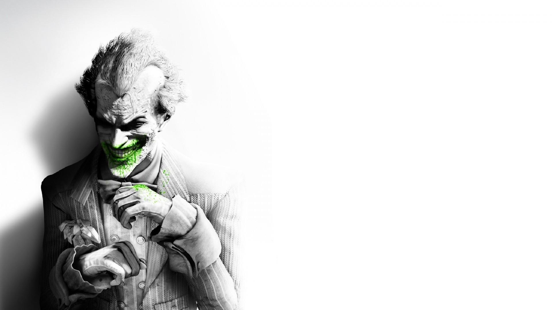 Preview wallpaper batman arkham city, joker, smile, suit, flower, fan art
