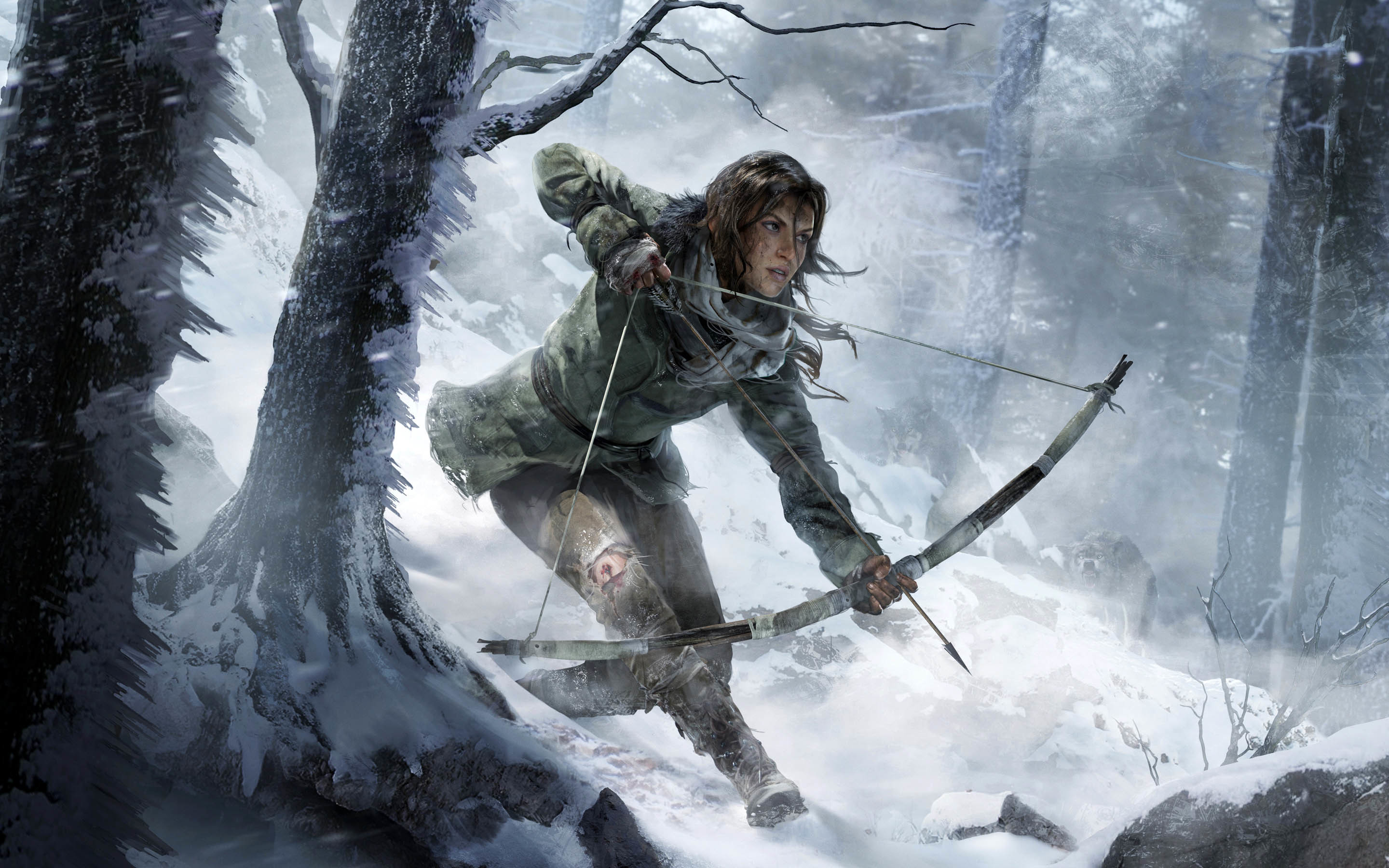 Rise of the Tomb Raider Artwork: Lara hunting with a bow wallpaper