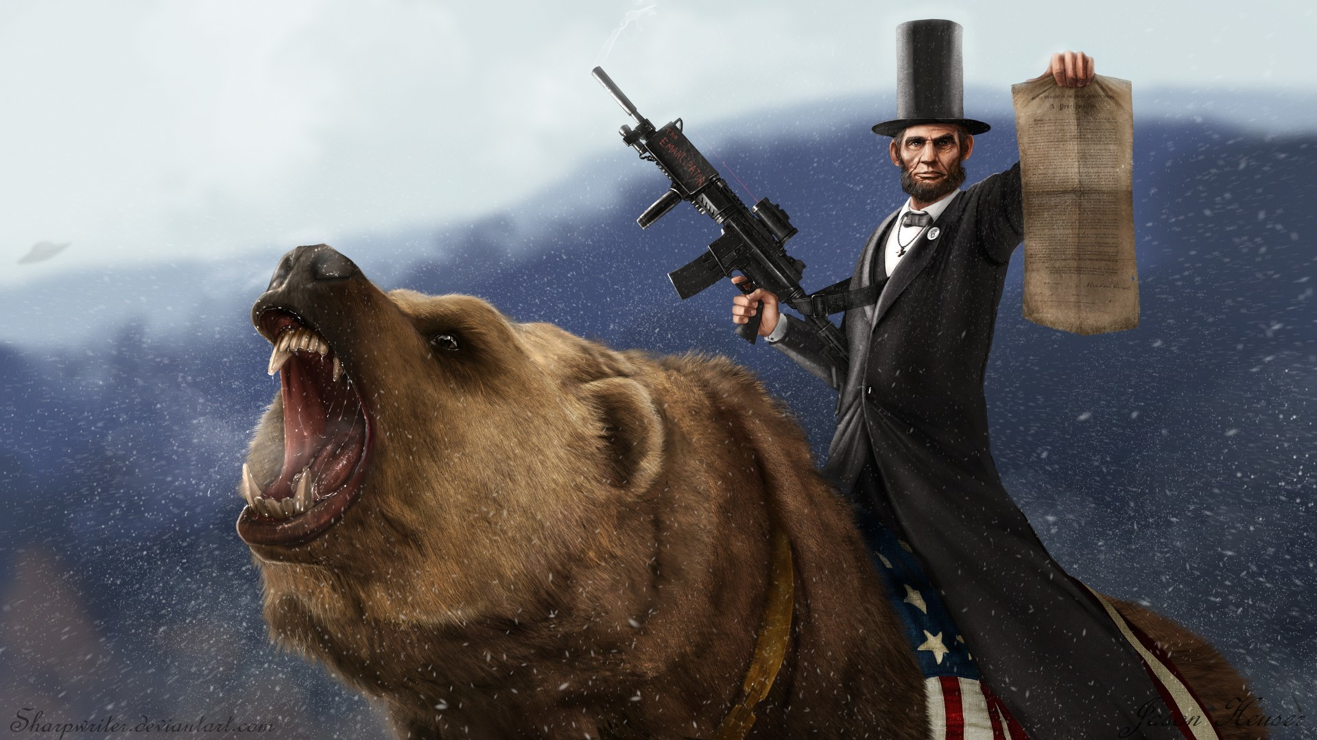 Abraham Lincoln riding the infamous anti-slavery bear