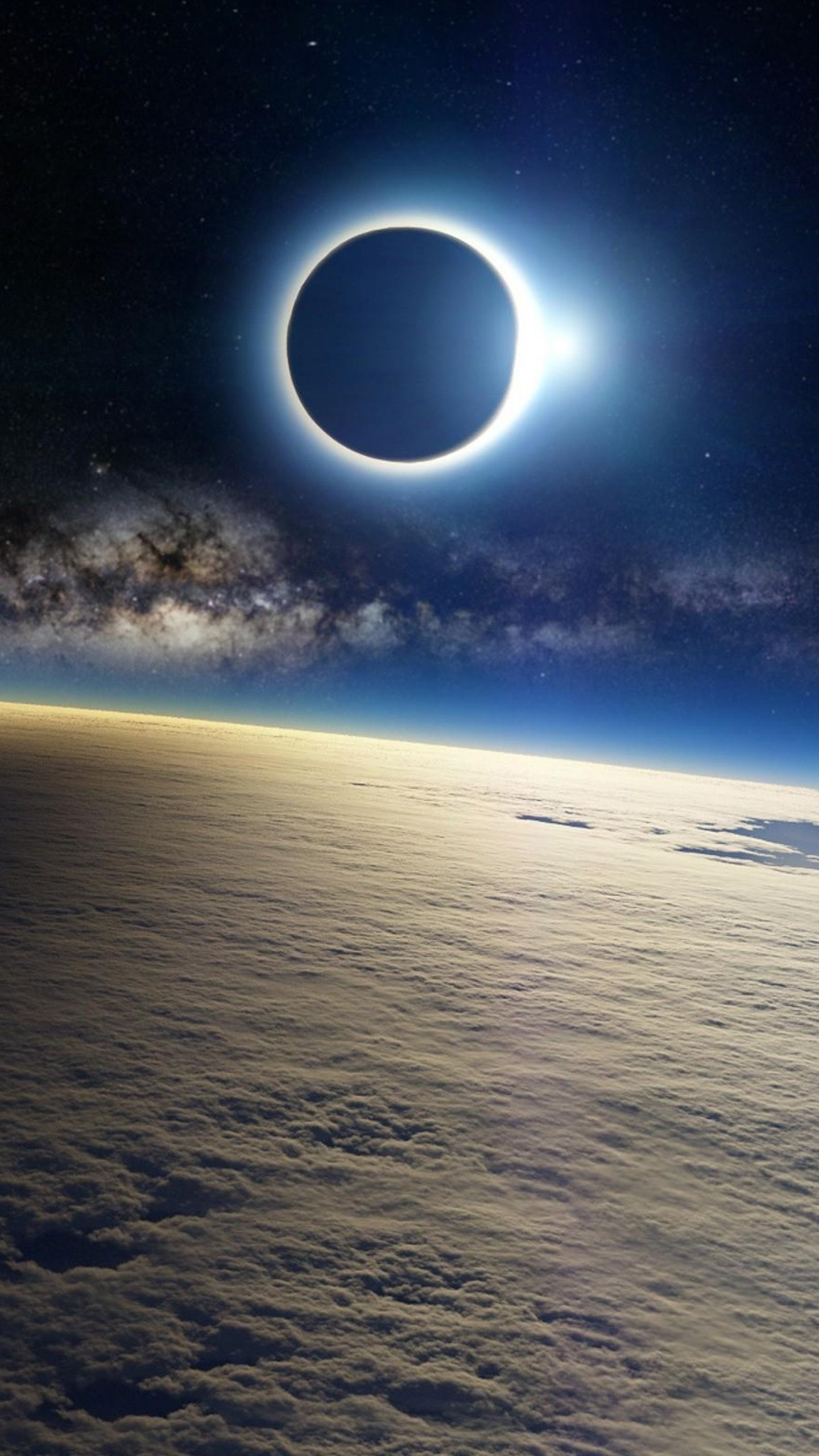 Wallpaper clouds, milky way, eclipse, light