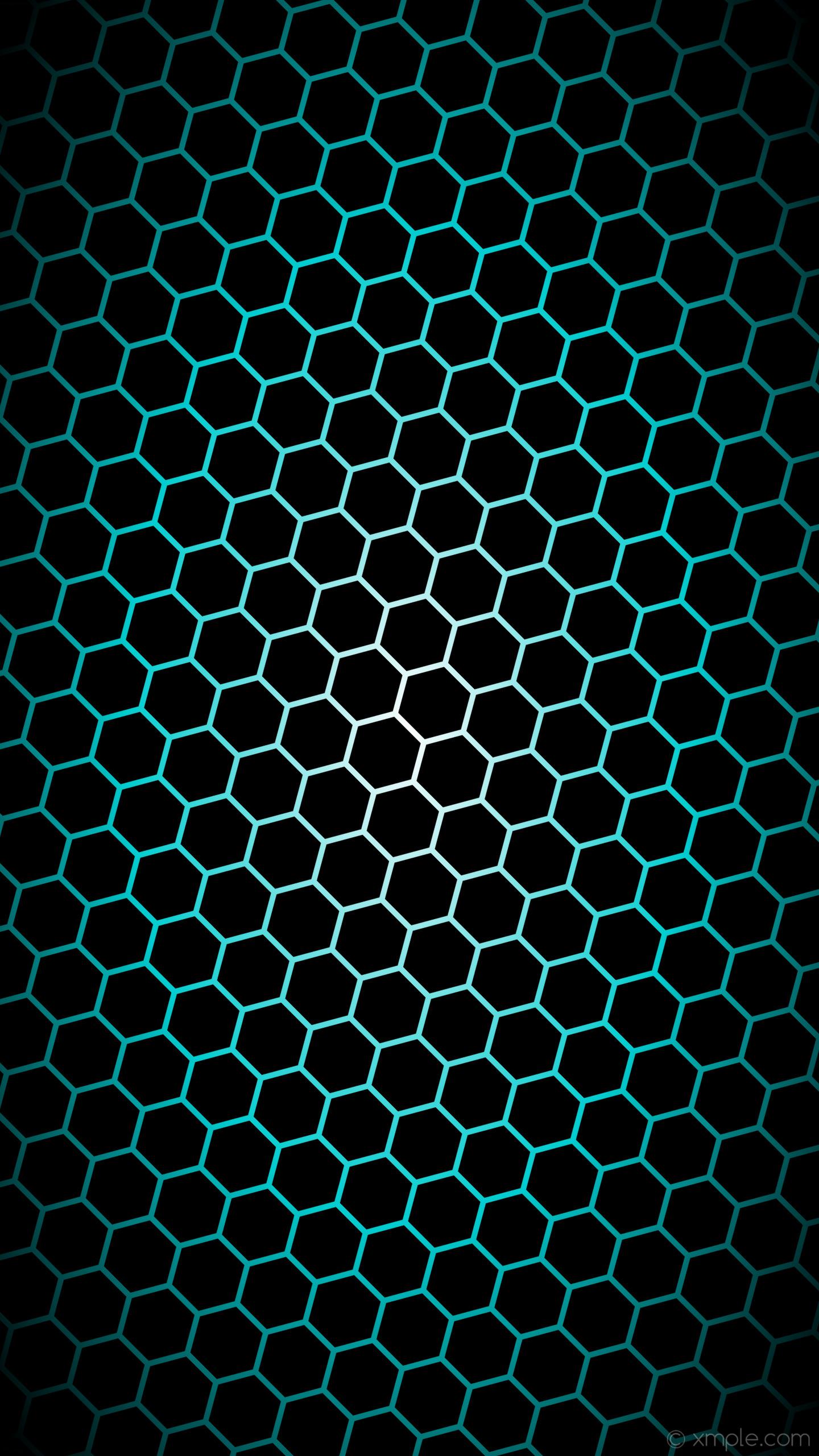 wallpaper white hexagon blue gradient glow black dark turquoise #000000  #ffffff #00ced1 diagonal