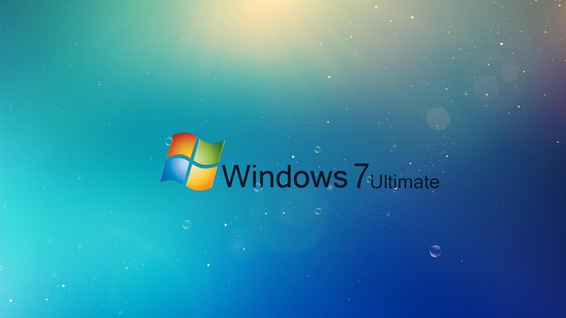 Wallpaper windows 7, ultimate, blue, drops