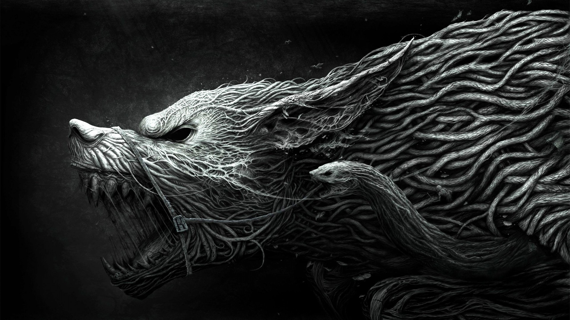 Preview wallpaper wolf, teeth, drawing, aggression, black, white 1920×1080